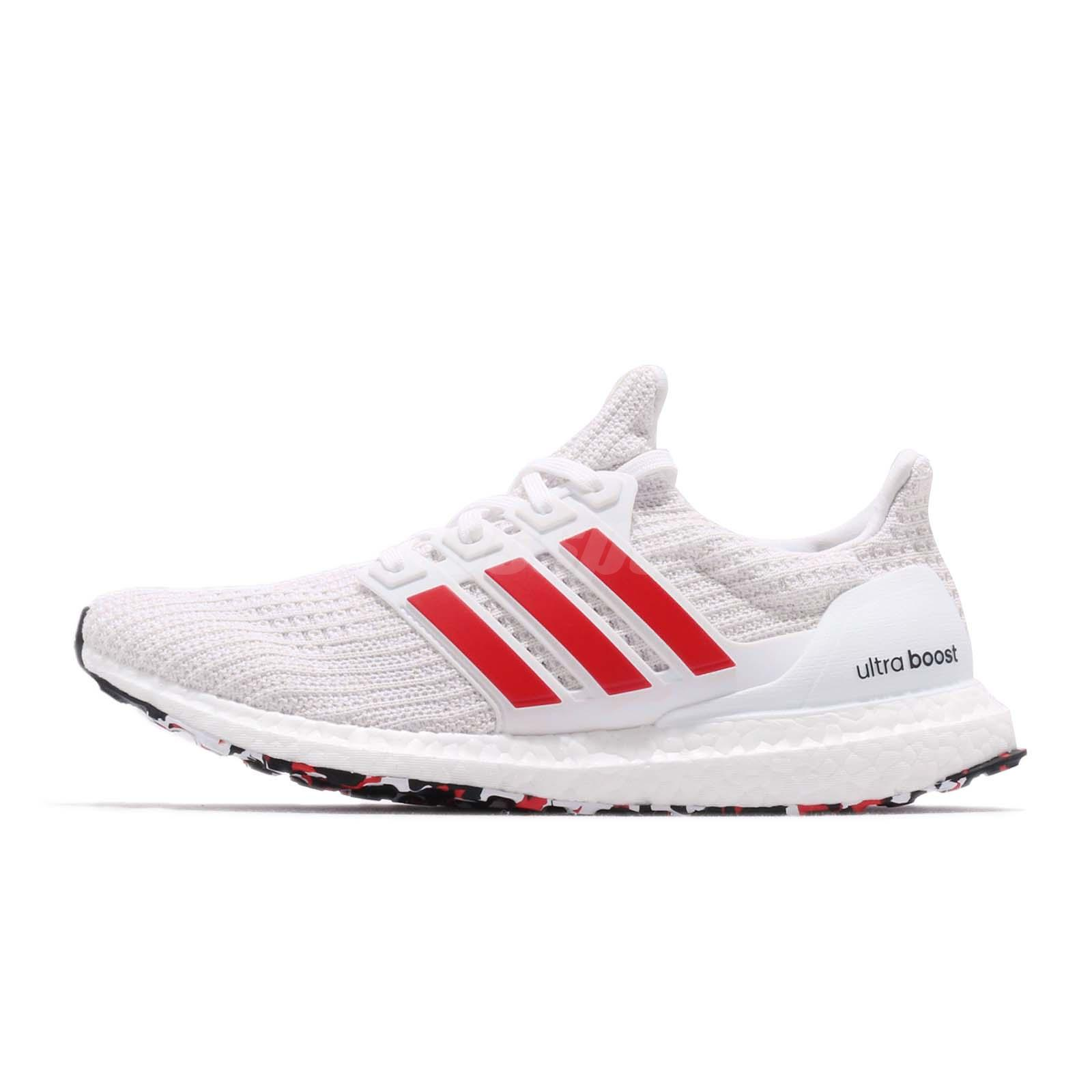 3c3f2331c adidas UltraBoost 4.0 Active Red Stripes White Men Running Shoes Sneakers  DB3199