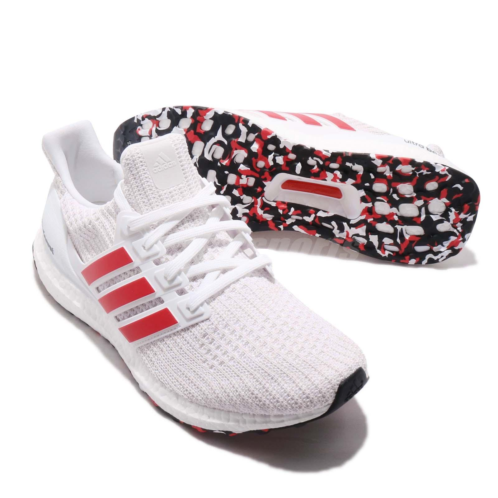 048922a42fa adidas UltraBoost 4.0 Active Red Stripes White Men Running Shoes ...
