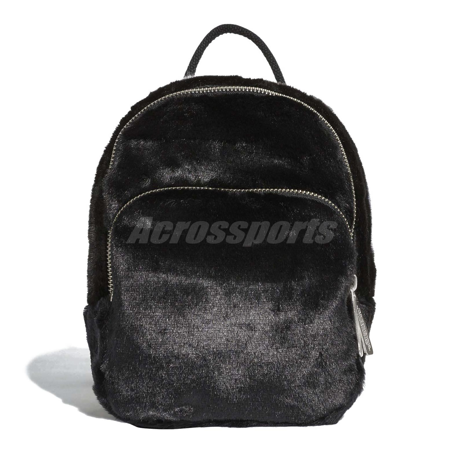 005544543255 adidas Originals Mini Classic Backpack Plush Faux Fur Bag Women Gym Black  DH4372