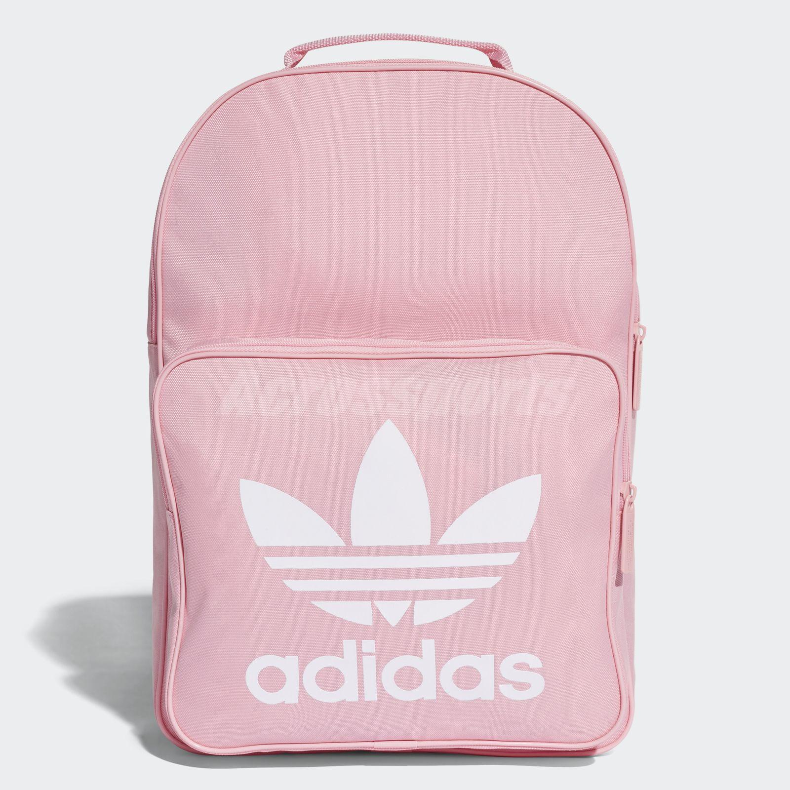 Details About Adidas Unisex Classic Trefoil Backpack Pink White Bookbag Sports Dj2173
