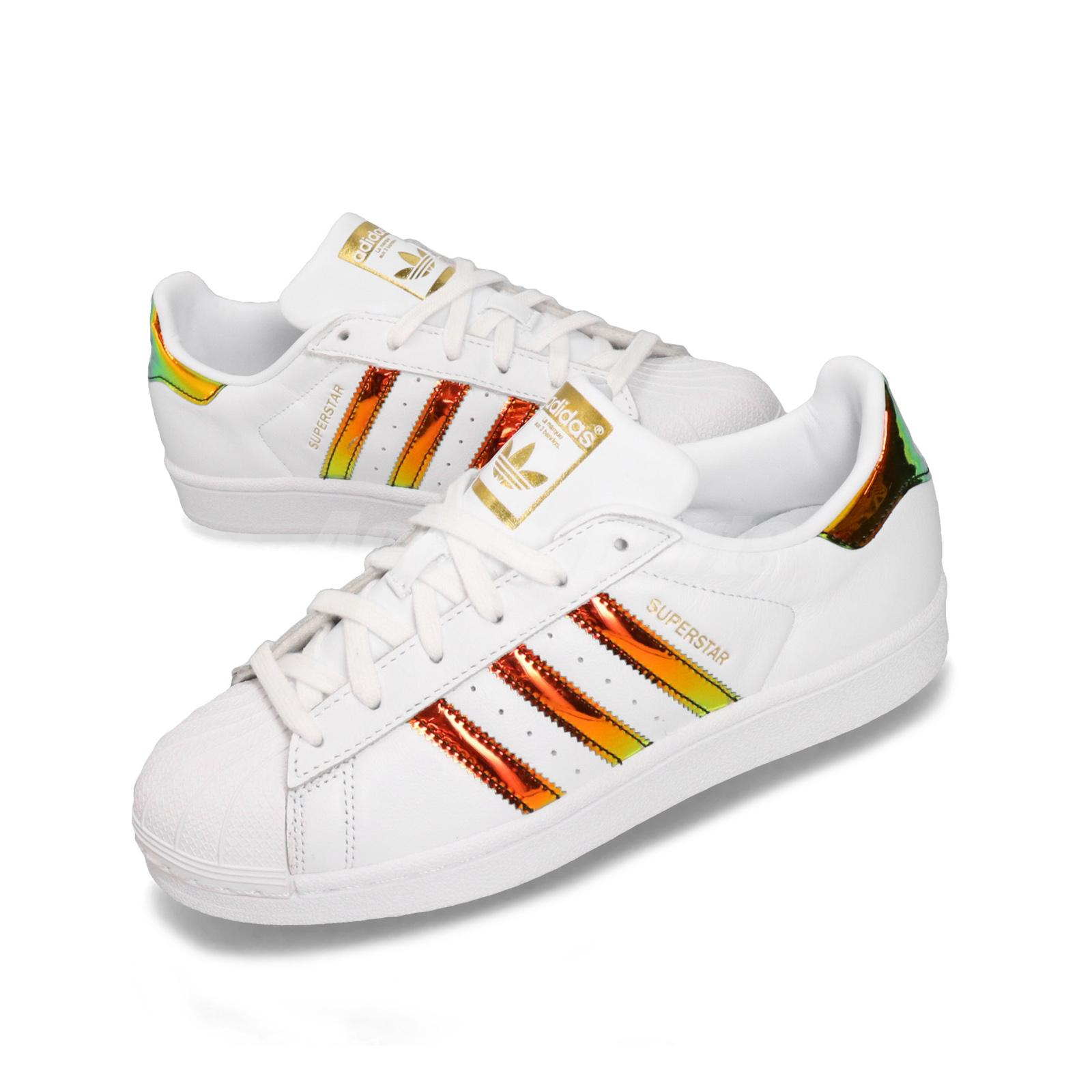 newest 94672 b8116 Details about adidas Superstar W White Gold Womens Classic Casual Shoes  Sneakers EG2918