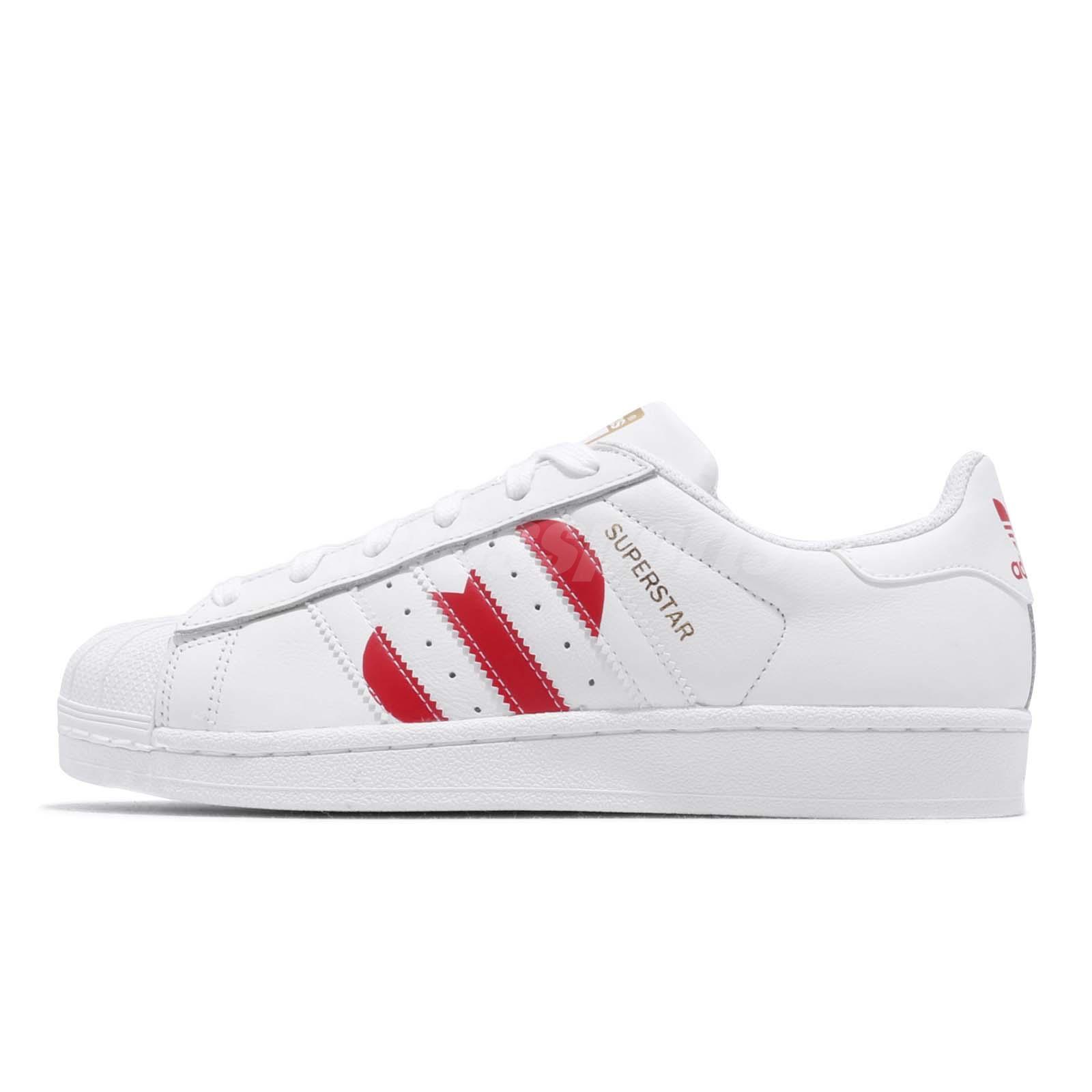 quality design e0577 e9895 adidas Originals Superstar White Red Heart Valentines Day Womens Shoes  EG3396