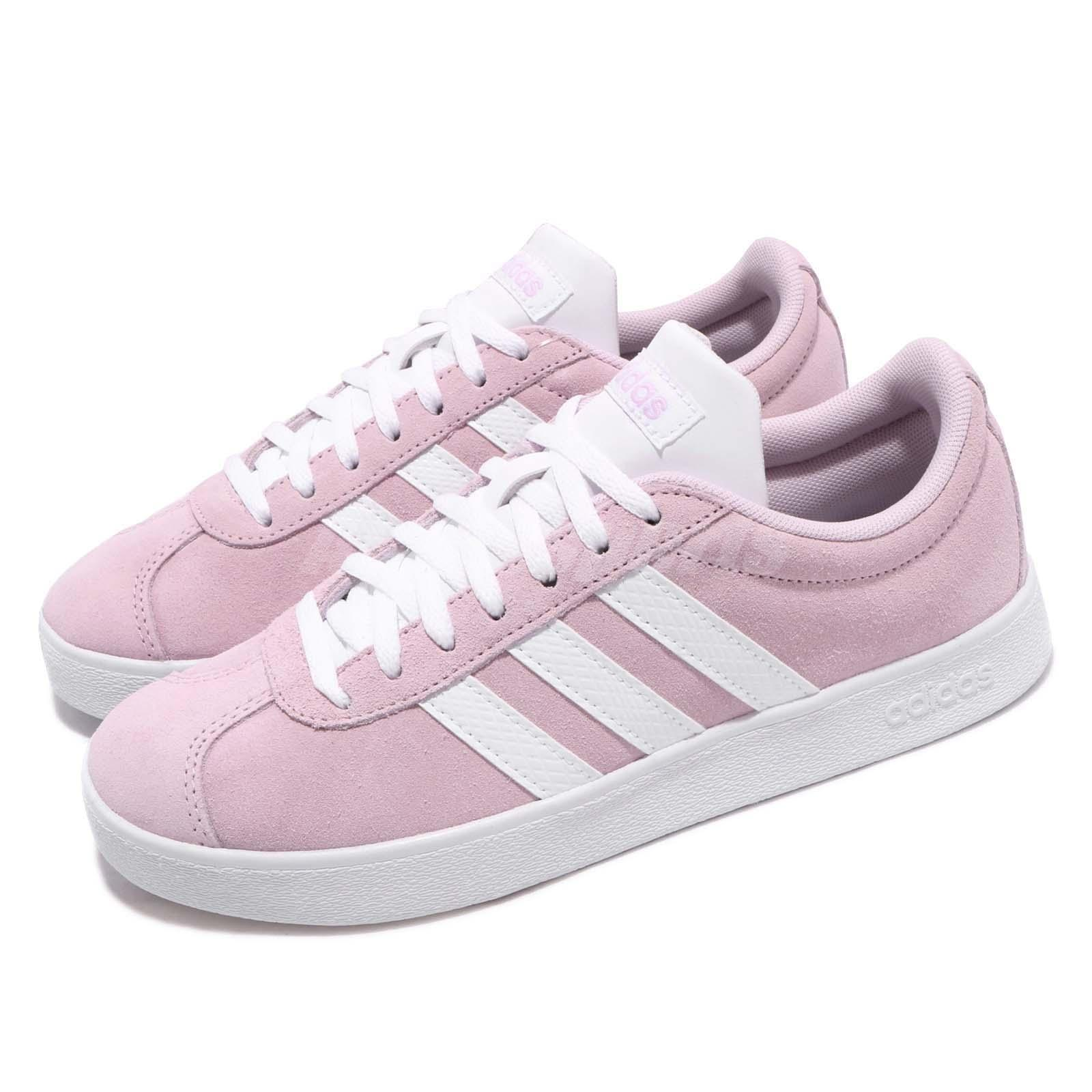 Details about adidas VL Court 2.0 Aero Pink White Women Classic Casual Shoes Sneakers F35128