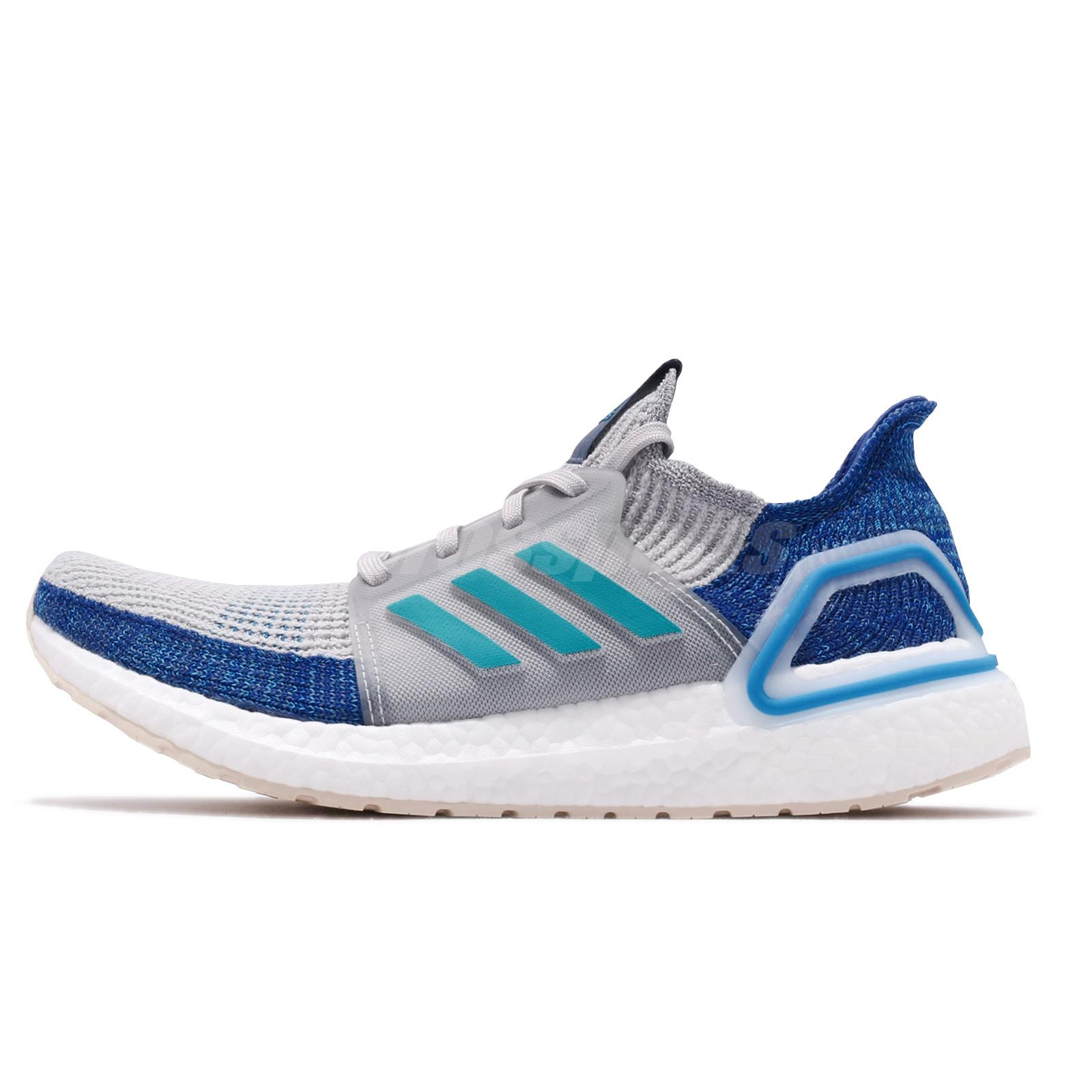 Details about adidas UltraBOOST 19 Grey Shock Cyan Blue Men Running Shoes Sneakers F35240