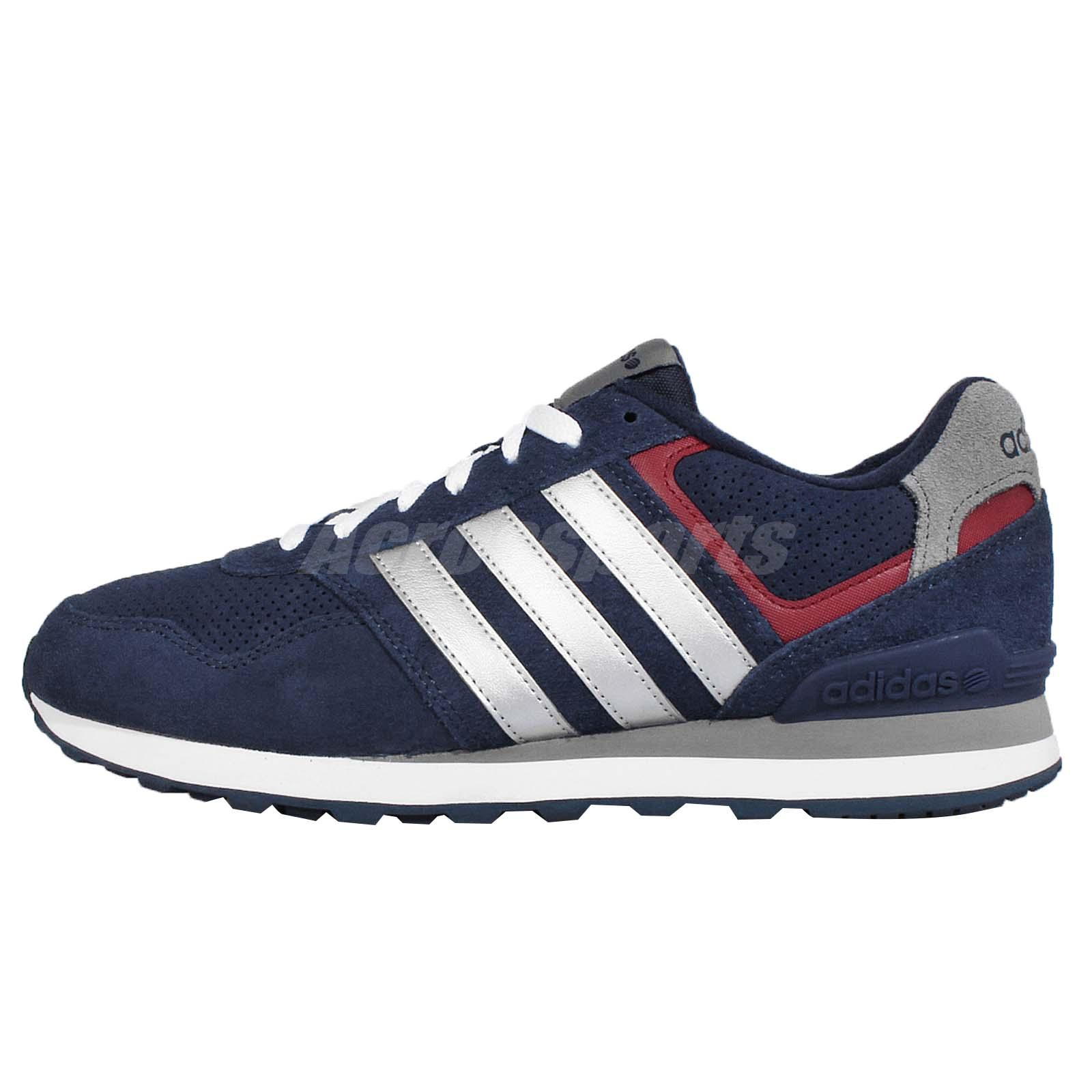 adidas neo label runeo 10k navy silver mens running shoes. Black Bedroom Furniture Sets. Home Design Ideas
