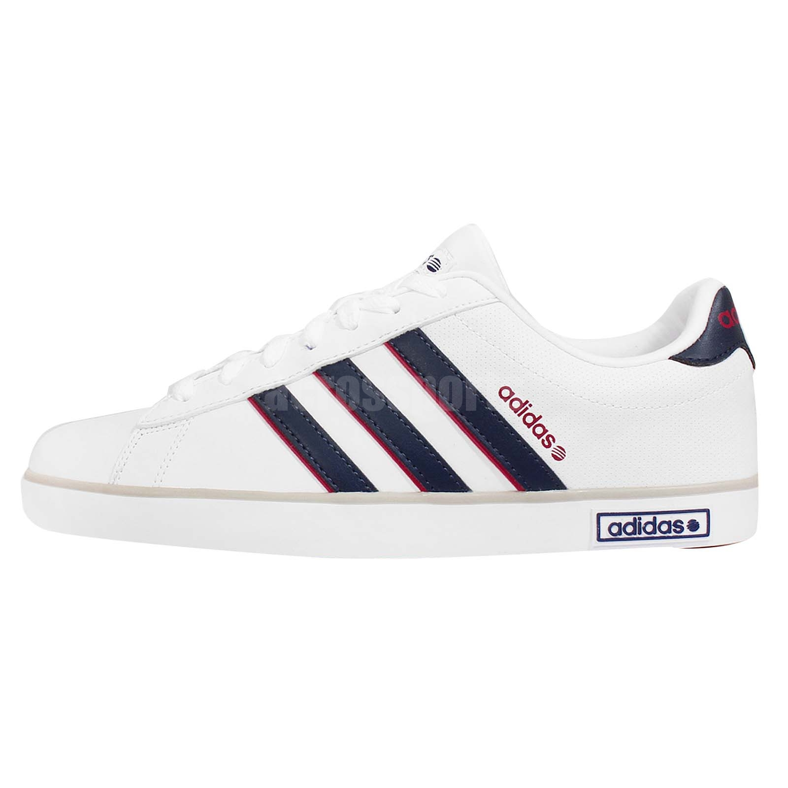 adidas neo label derby vulc white navy red mens casual. Black Bedroom Furniture Sets. Home Design Ideas