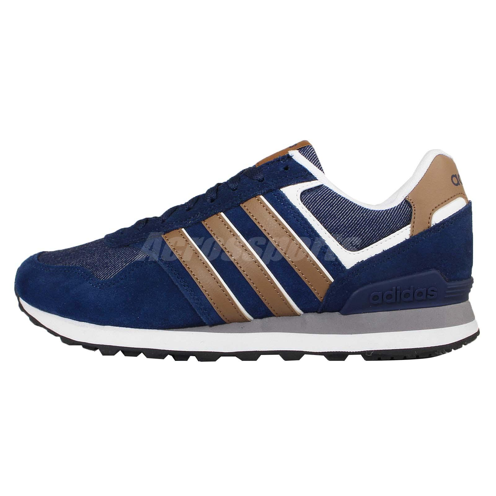 adidas neo label 10k navy brown white mens casual shoes. Black Bedroom Furniture Sets. Home Design Ideas