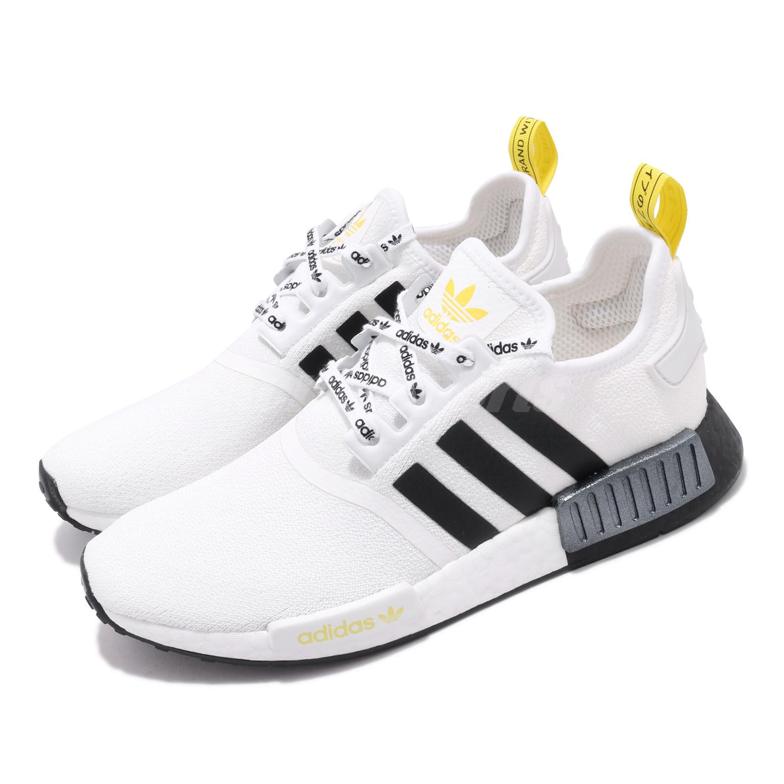 Adidas Originals Nmd R1 Boost White Black Yellow Men Casual Shoes