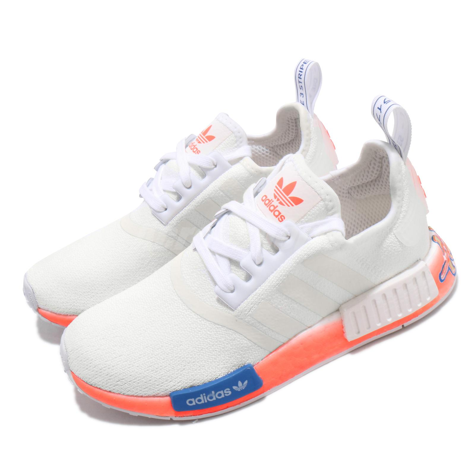 Adidas Nmd R1 White Orange Graffiti Stlt Primeknit Men Women Casual Shoes Fv7852 Ebay