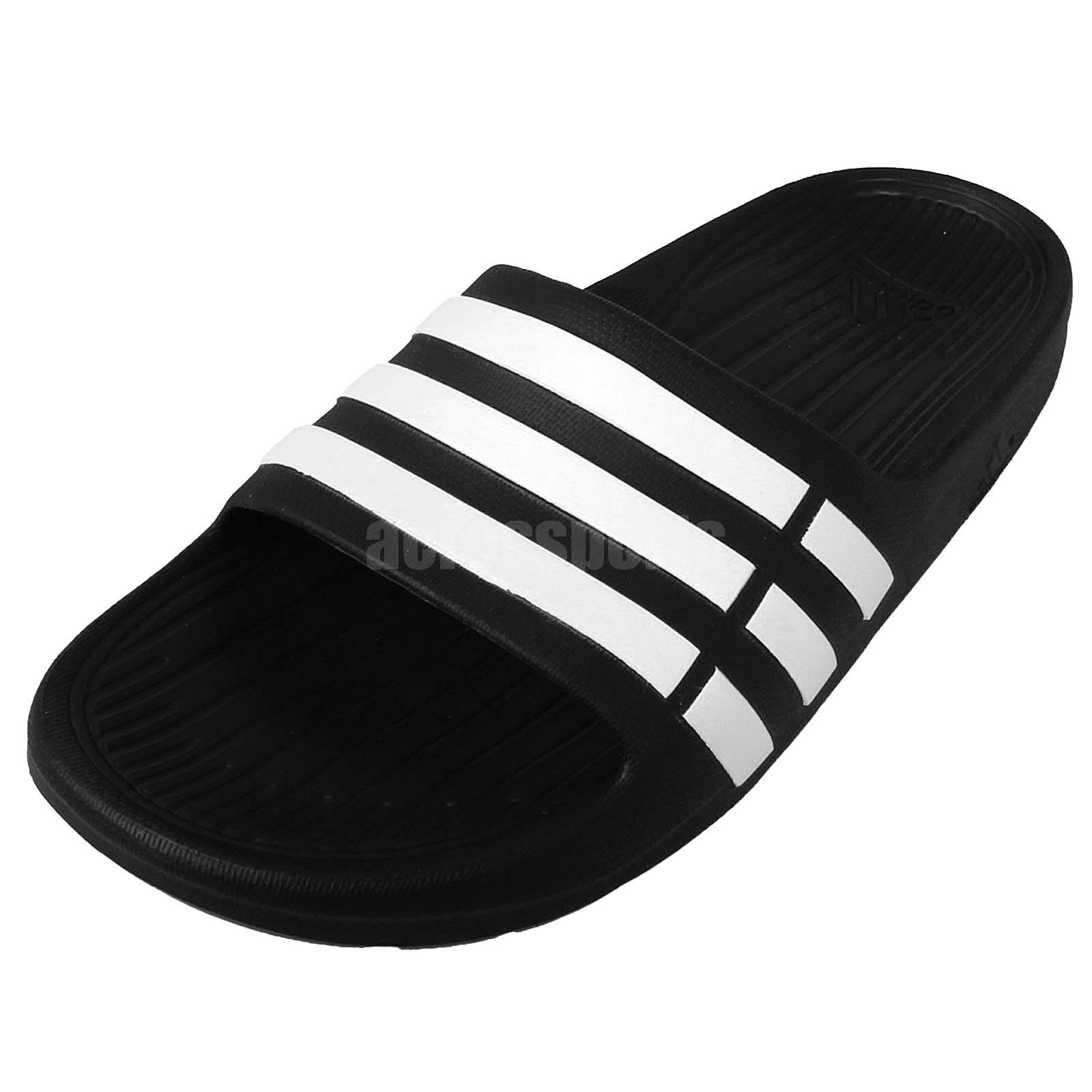 a4e09783cdfced adidas Duramo Slide K Black White Youth Girls Womens Slippers Sandals G06799