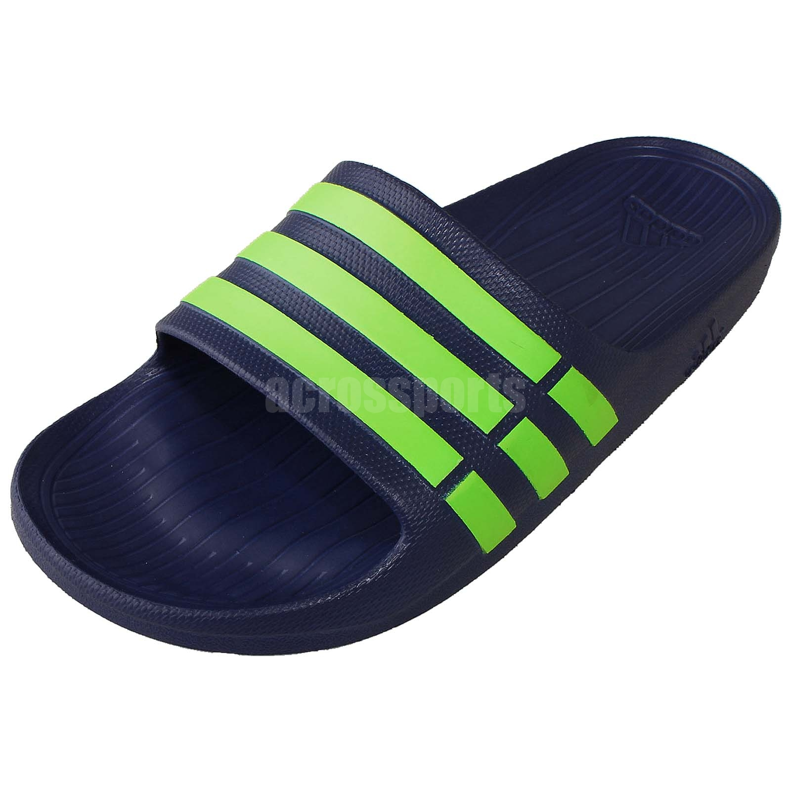 adidas Duramo Slide Men Sports Slippers Navy Green Sandal Shoes NWOB G95489