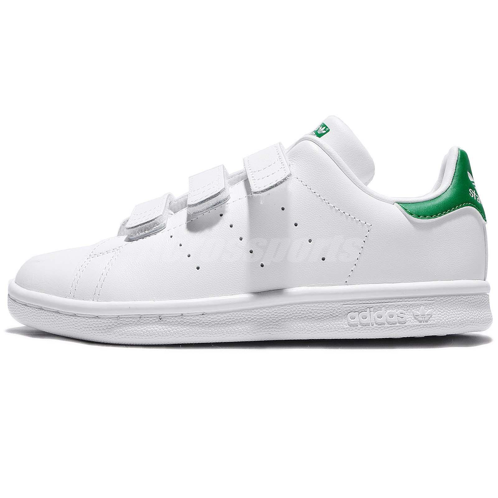 adidas Originals Stan Smith CF C White Green Leather Kids Junior Shoes M20607