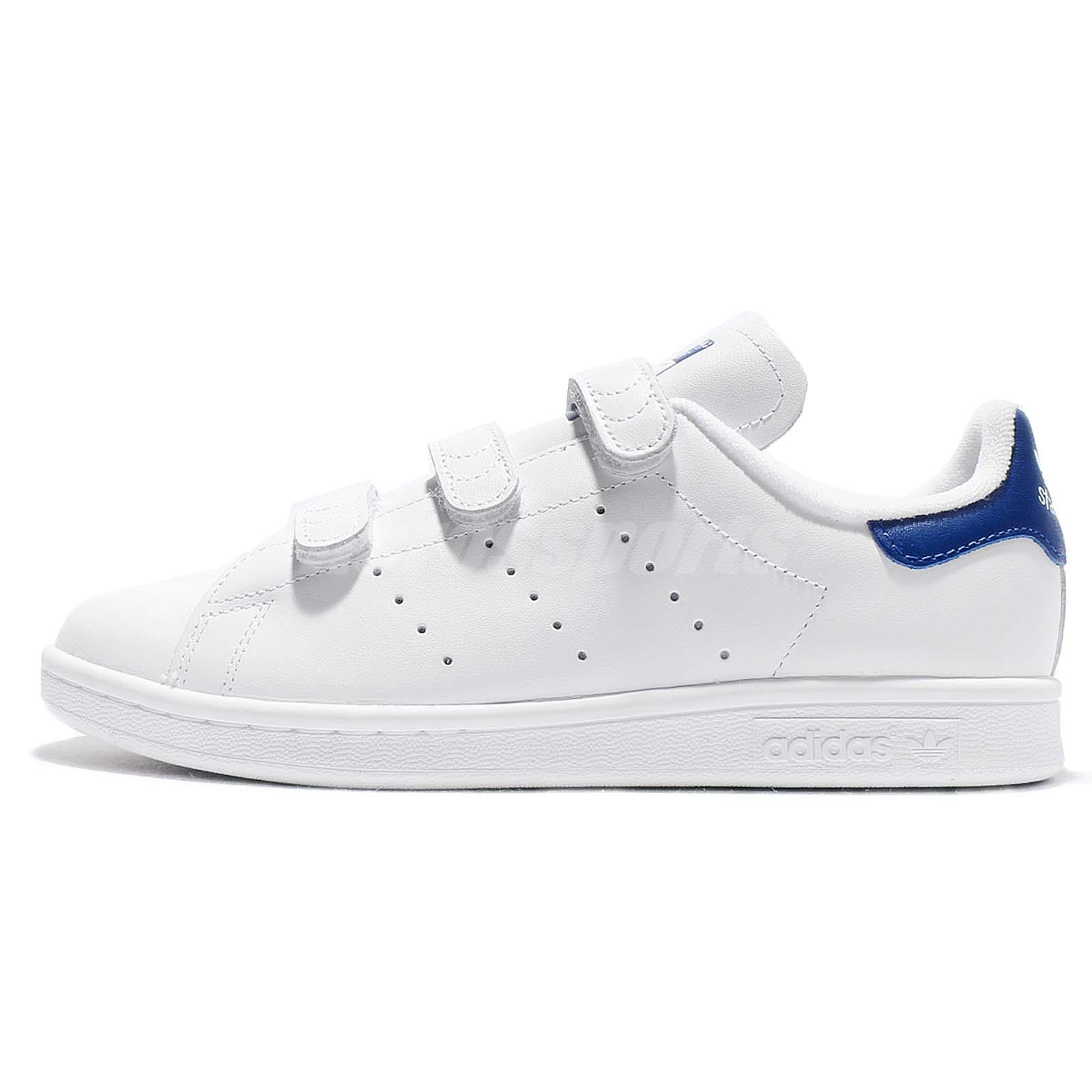 low priced f2075 7ef2c adidas Originals Stan Smith CF White Blue Leather Men Classic Shoes S80042
