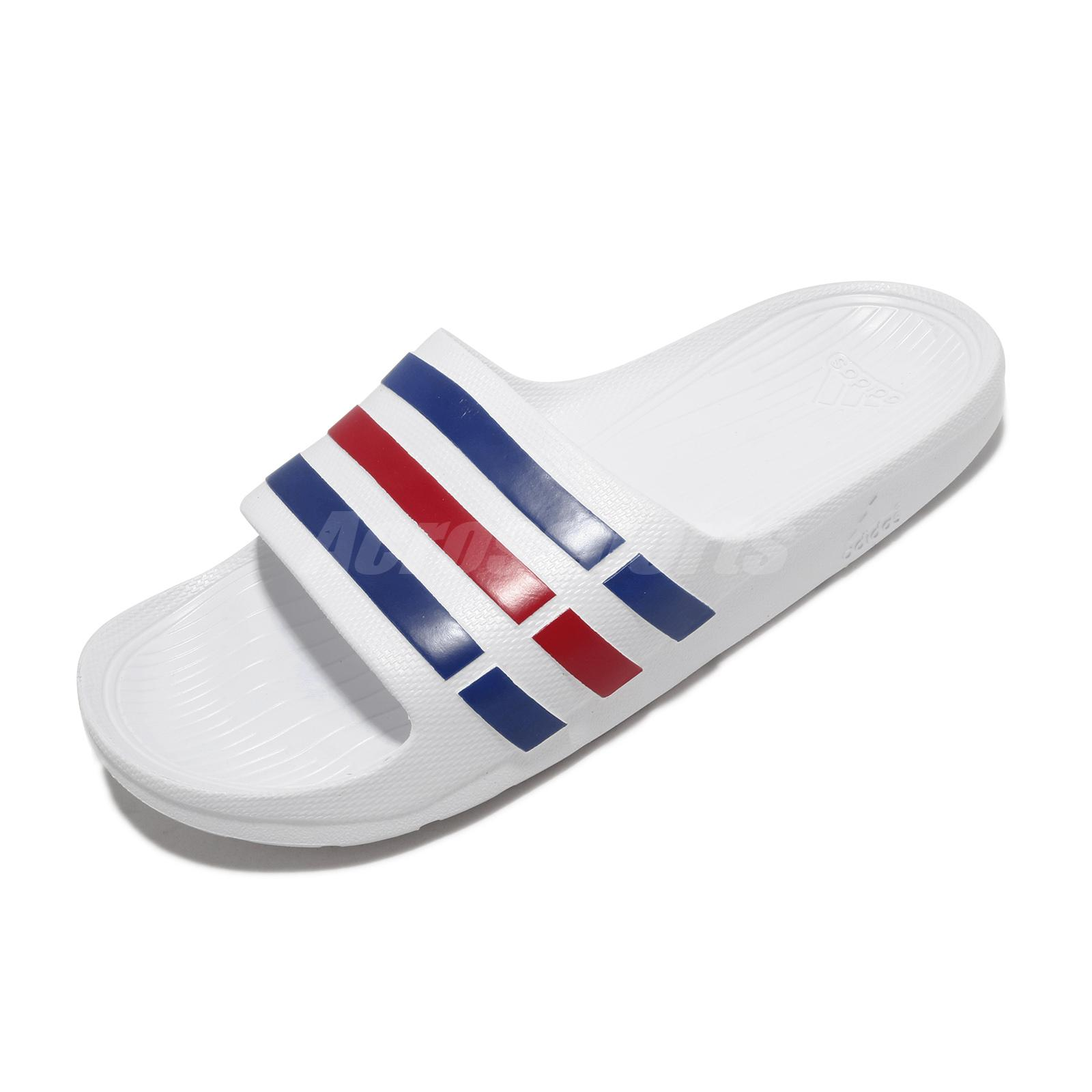 f20e9d2ea035 adidas Duramo Slide White Blue Red Mens Womens Sports Slide Slippers U43664