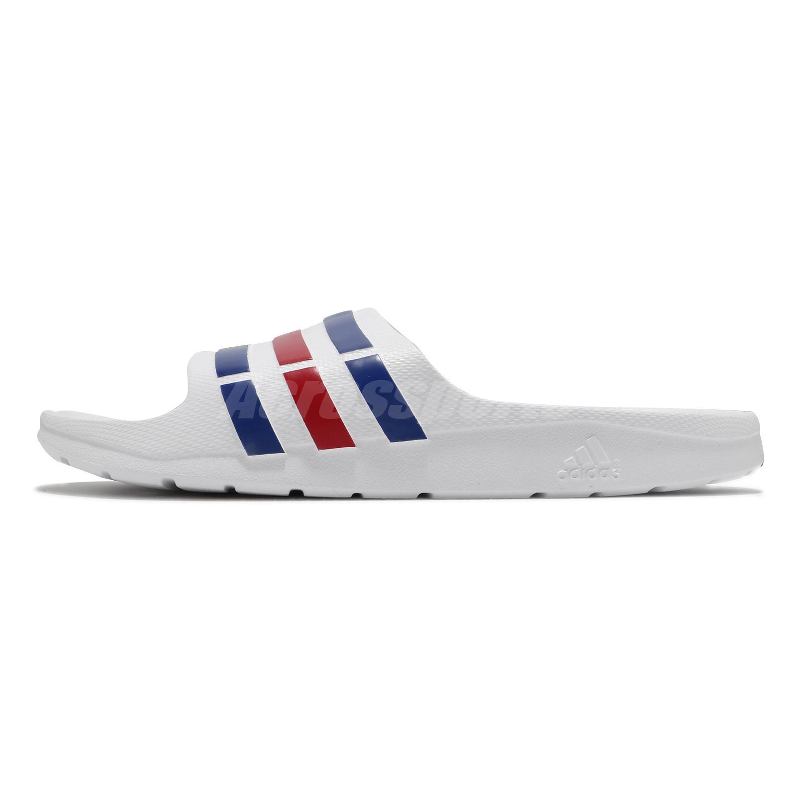 191d578f adidas Duramo Slide White Blue Red Mens Womens Sports Slide Slippers ...