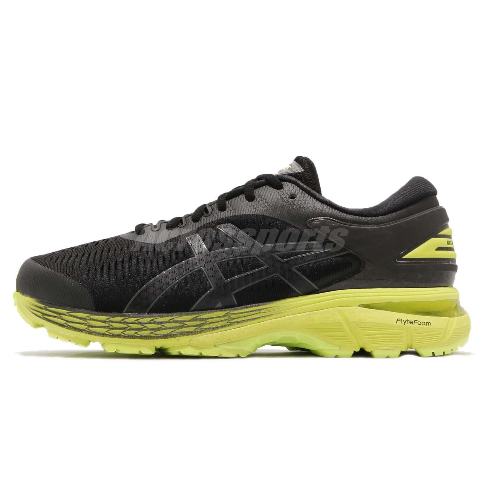 1e3ae24ed Asics Gel-Kayano 25 2E Wide Black Neon Lime Mens Running Shoes 1011A02-9001