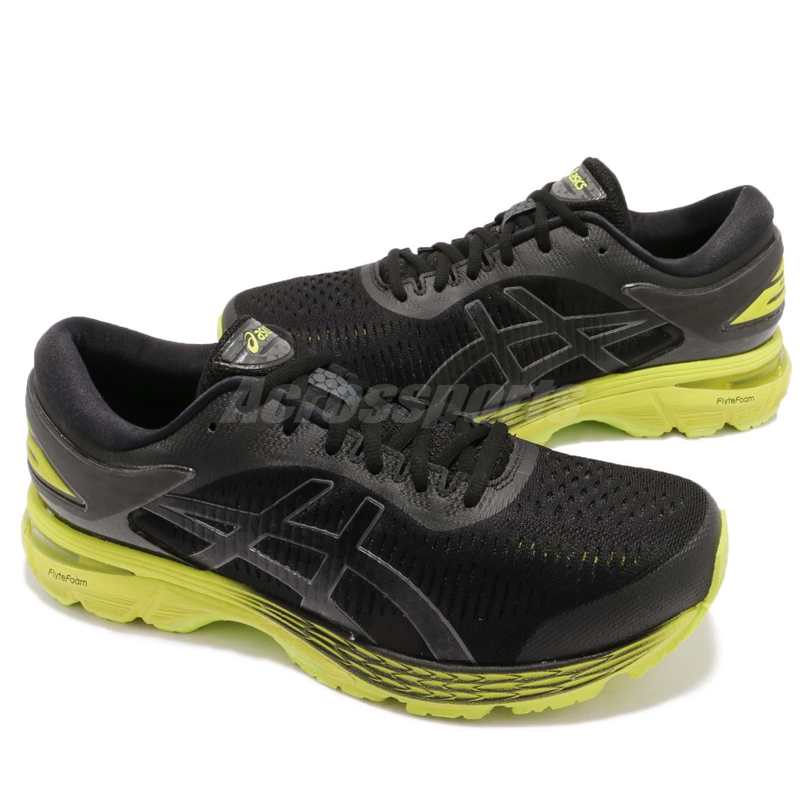 3ee4f9145 Asics Gel-Kayano 25 2E Wide Black Neon Lime Mens Running Shoes ...
