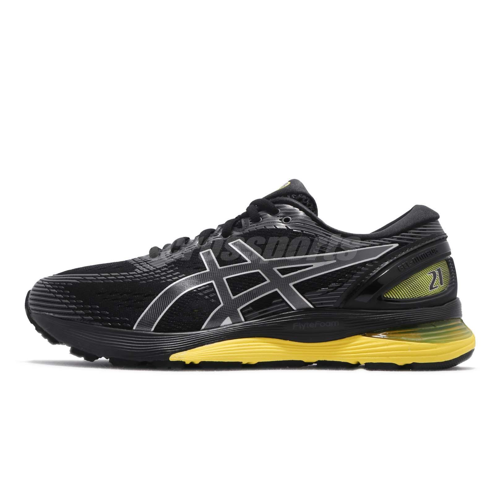 0eb5fd221a8a Asics Gel Nimbus 21 2E Wide Black Lemon Spark Men Running Shoes 1011A172-003