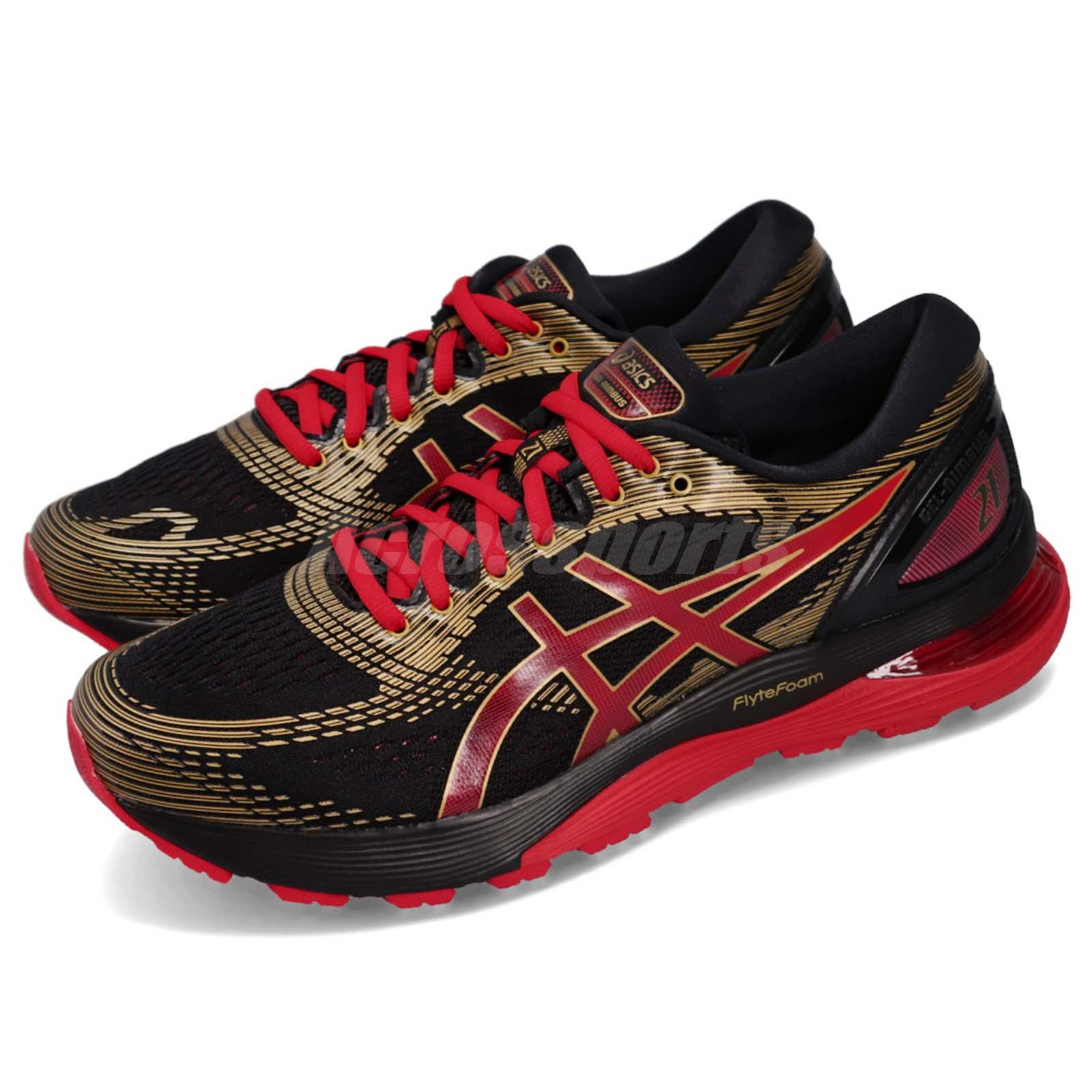 73b3c96aafa9 Details about Asics Gel-Nimbus 21 Black Classic Red Men Running Shoes  Sneakers 1011A257-001