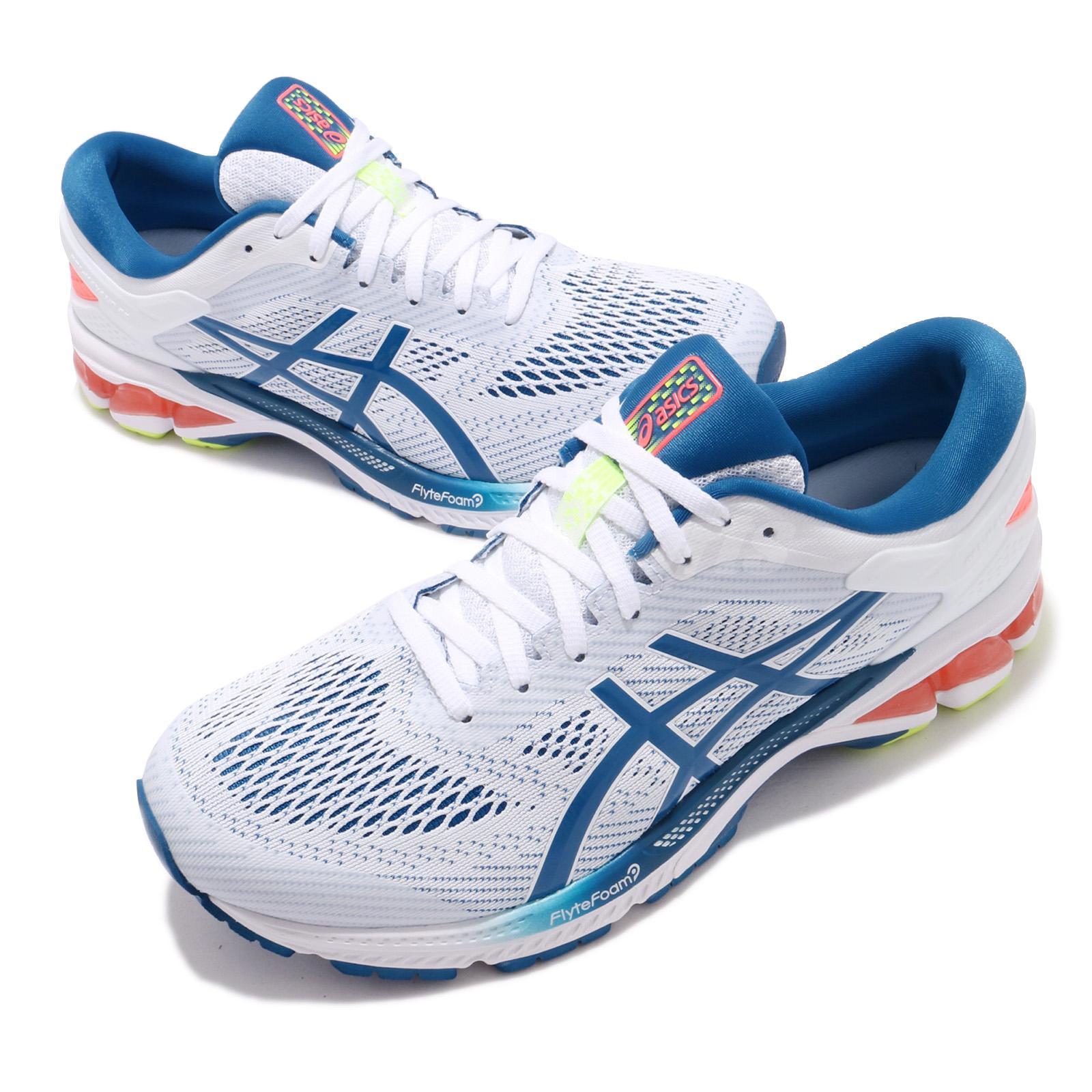 Détails sur Asics Gel Kayano 26 Blanc bleu Lake Drive Hommes Chaussures De Course Baskets 1011A541 100 afficher le titre d'origine