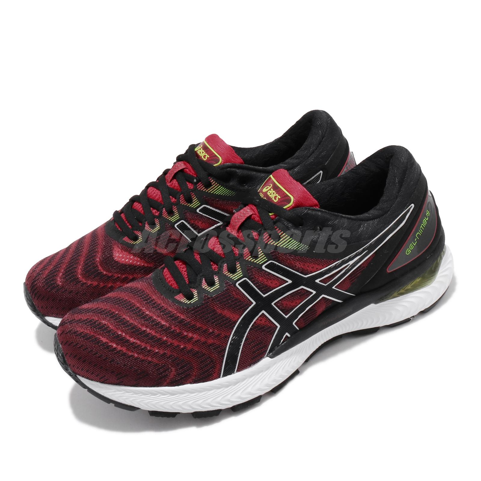 Black Red Sports Asics Mens Gel-Nimbus 22 Running Shoes Trainers Sneakers
