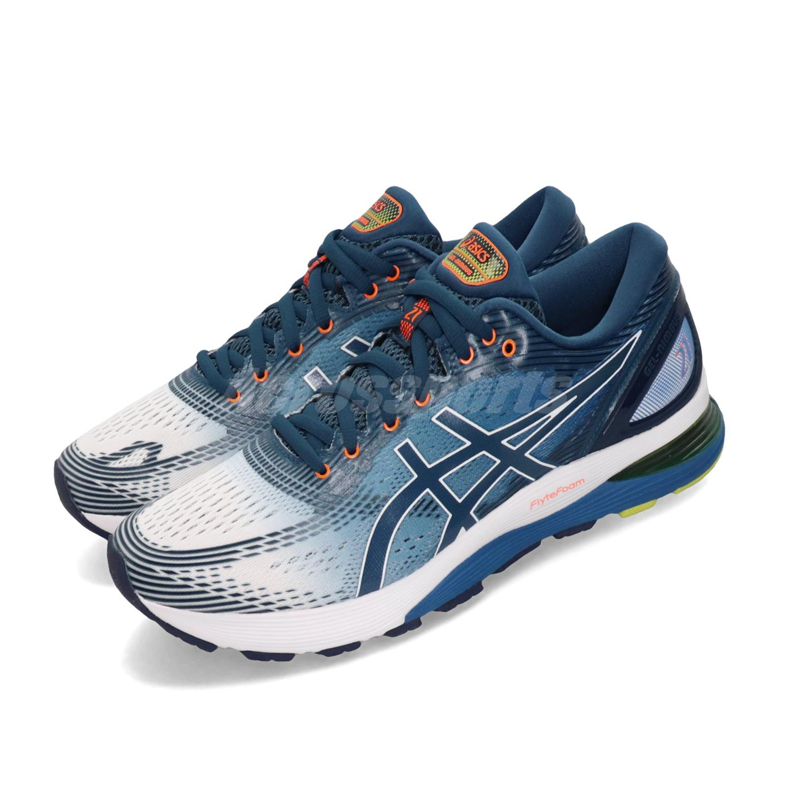 Details about Asics Gel-Nimbus 21 White Blue Orange Men Running Shoes  Sneakers 1011A714-100