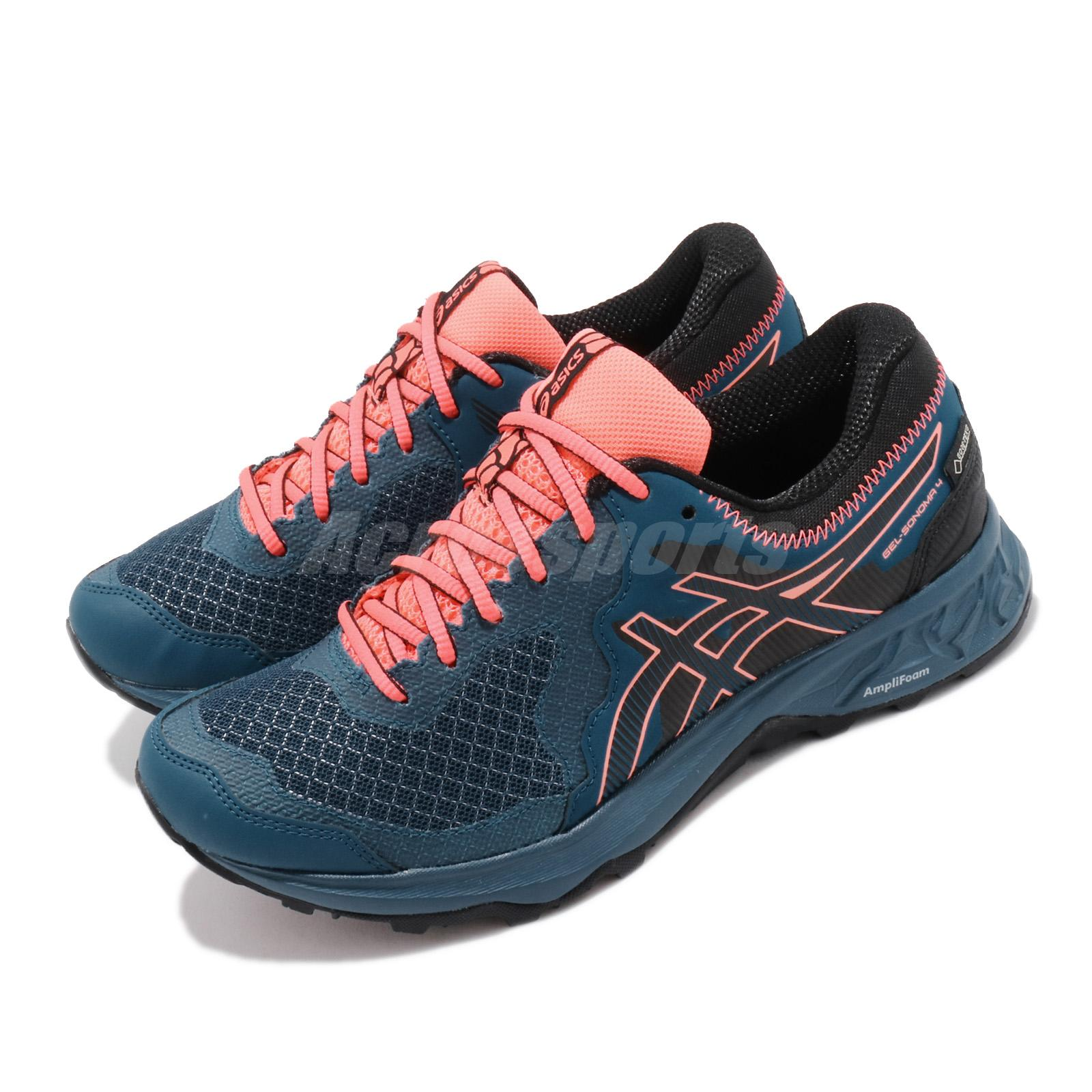 Details about Asics Gel-Sonoma 4 GTX Gore-Tex Mako Blue Coral Women Trail  Running 1012A191-400