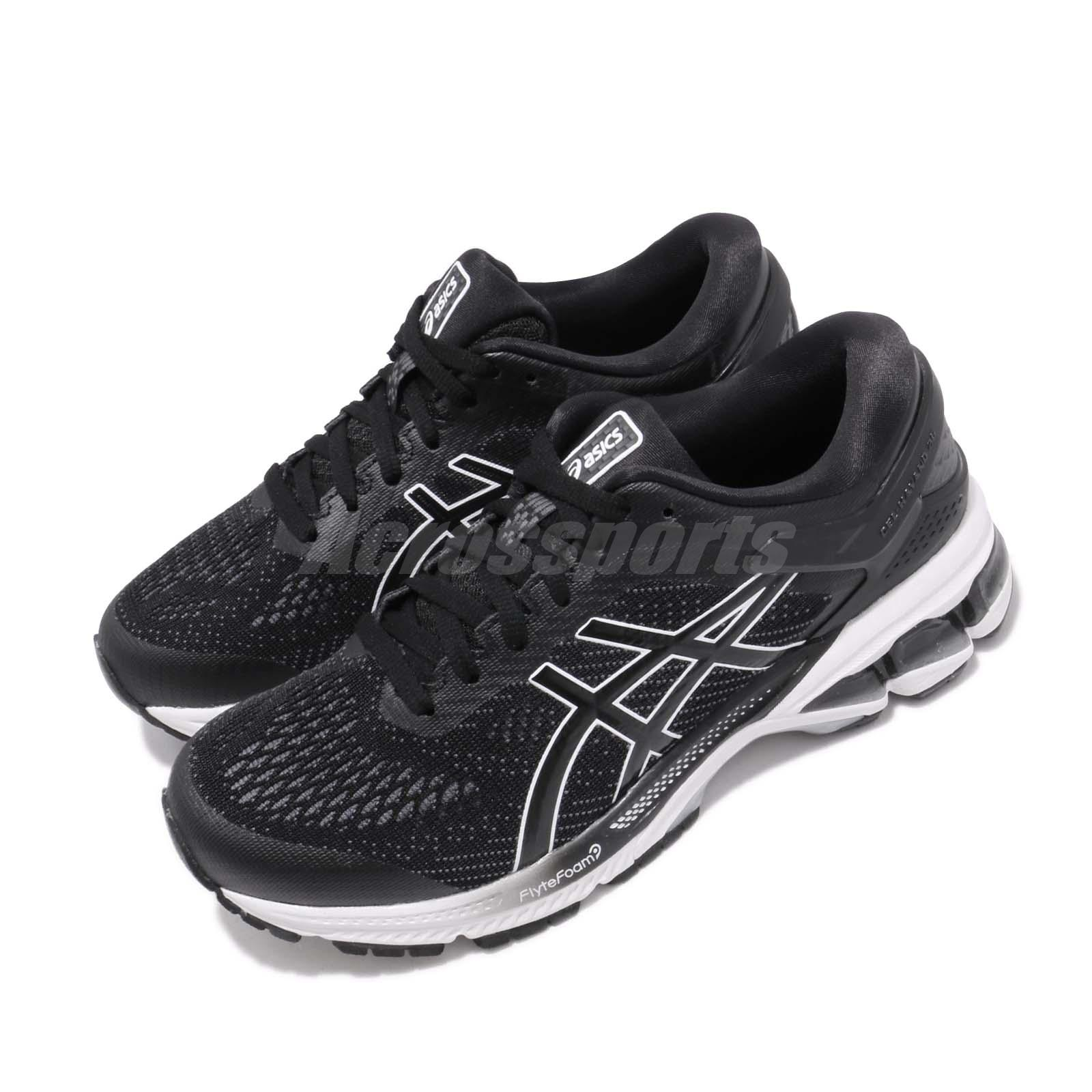 Details about Asics GEL KAYANO 26 Black White Women D Wide Running Shoes 1012A459 001