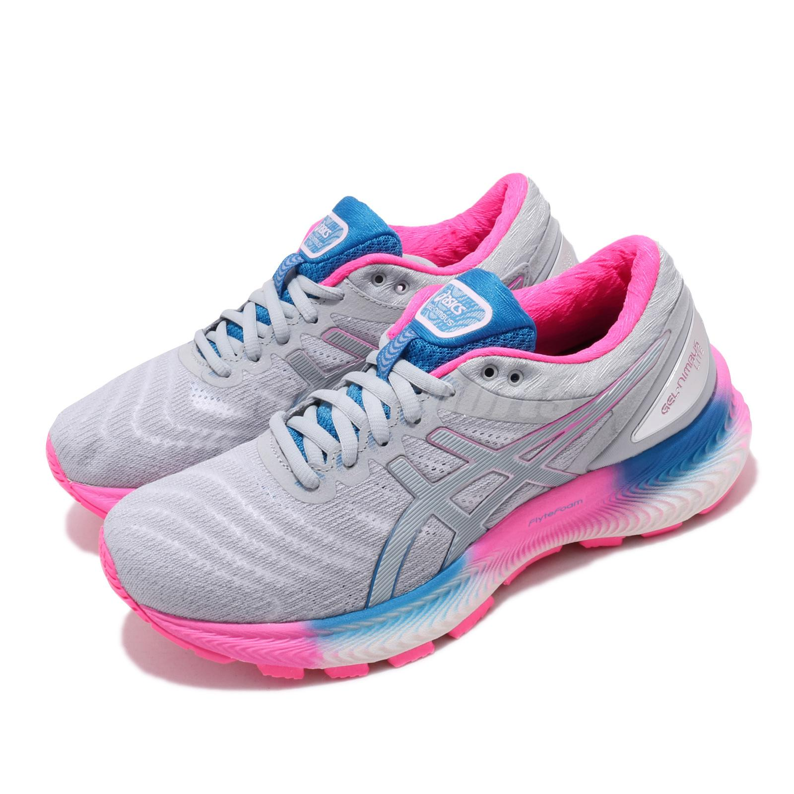 Details about Asics Gel-Nimbus 22 Lite Grey Pink Blue Womens Road Running  Shoes 1012A667-100