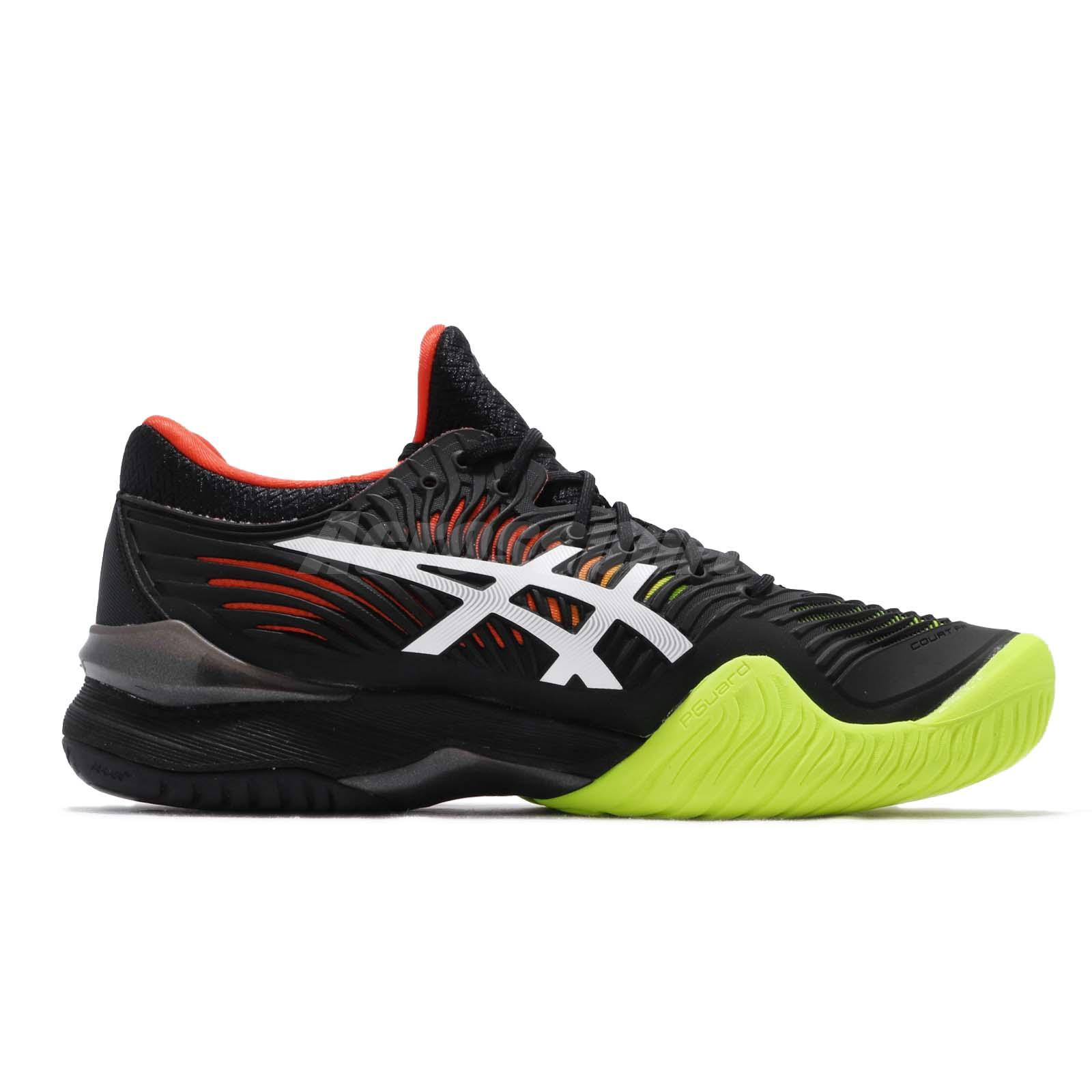 Asics Court FF 2 Black White Orange Volt Men Tennis Shoes Sneakers
