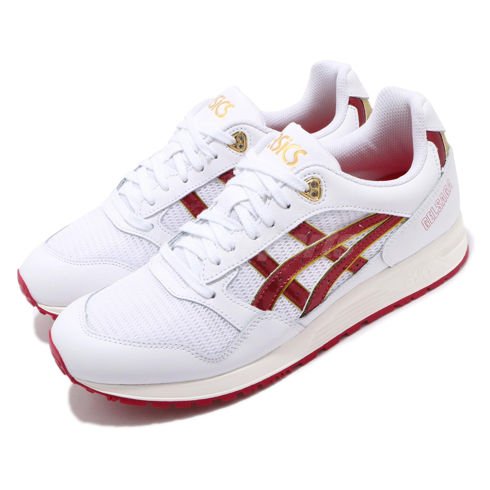 Details about Asics Tiger Gel-SAGA White Speed Red Gold Mens Womens Running  Shoes 1191A231-100