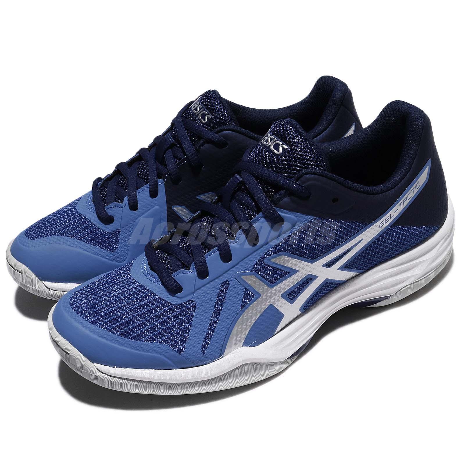 Asics Gel Tactic Blue Silver Women Indoor Badminton Volleyball Shoe B752N 4093
