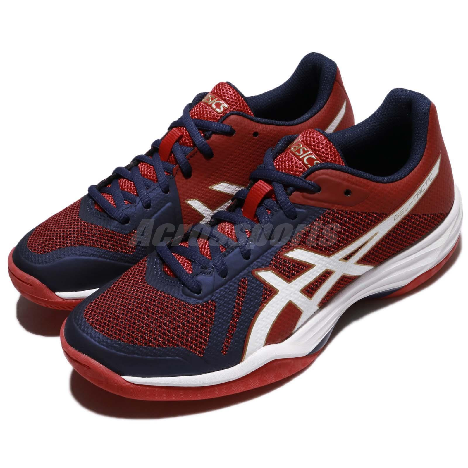 Asics Gel Tactic Prime Red Blue Women Volleyball Badminton Shoes B752N 4901