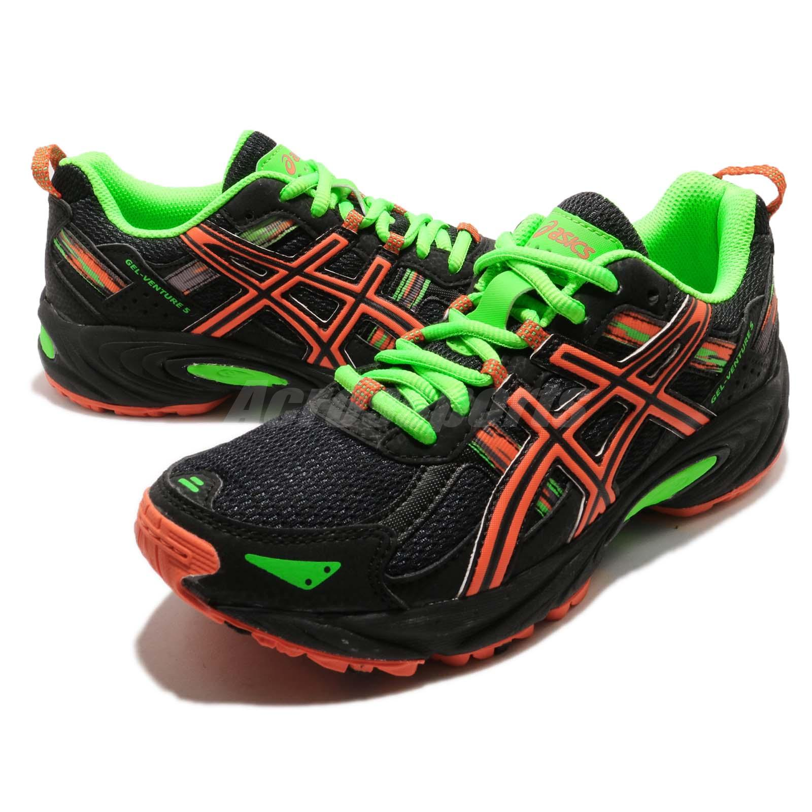 e5432427f3 Details about Asics Gel-Venture 5 GS Black Orange Green Kid Trail Running  Shoes C584N-9009