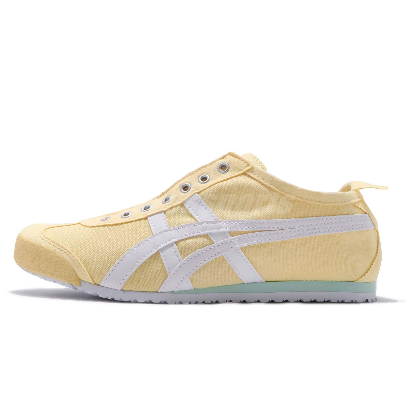 timeless design b6363 3b3cb Details about Asics Onitsuka Tiger Mexico 66 Yellow White Women Slip On  Casual Shoe D3K5N-0301