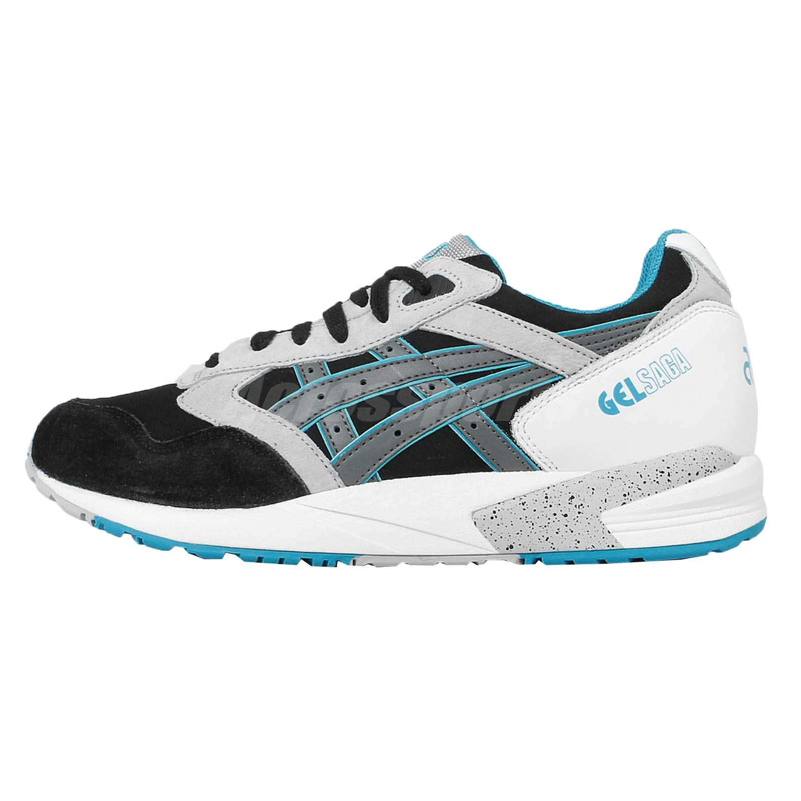 Asics Tiger Gel Saga Black Grey Blue Mens Running Shoes Trainers H648L 9011