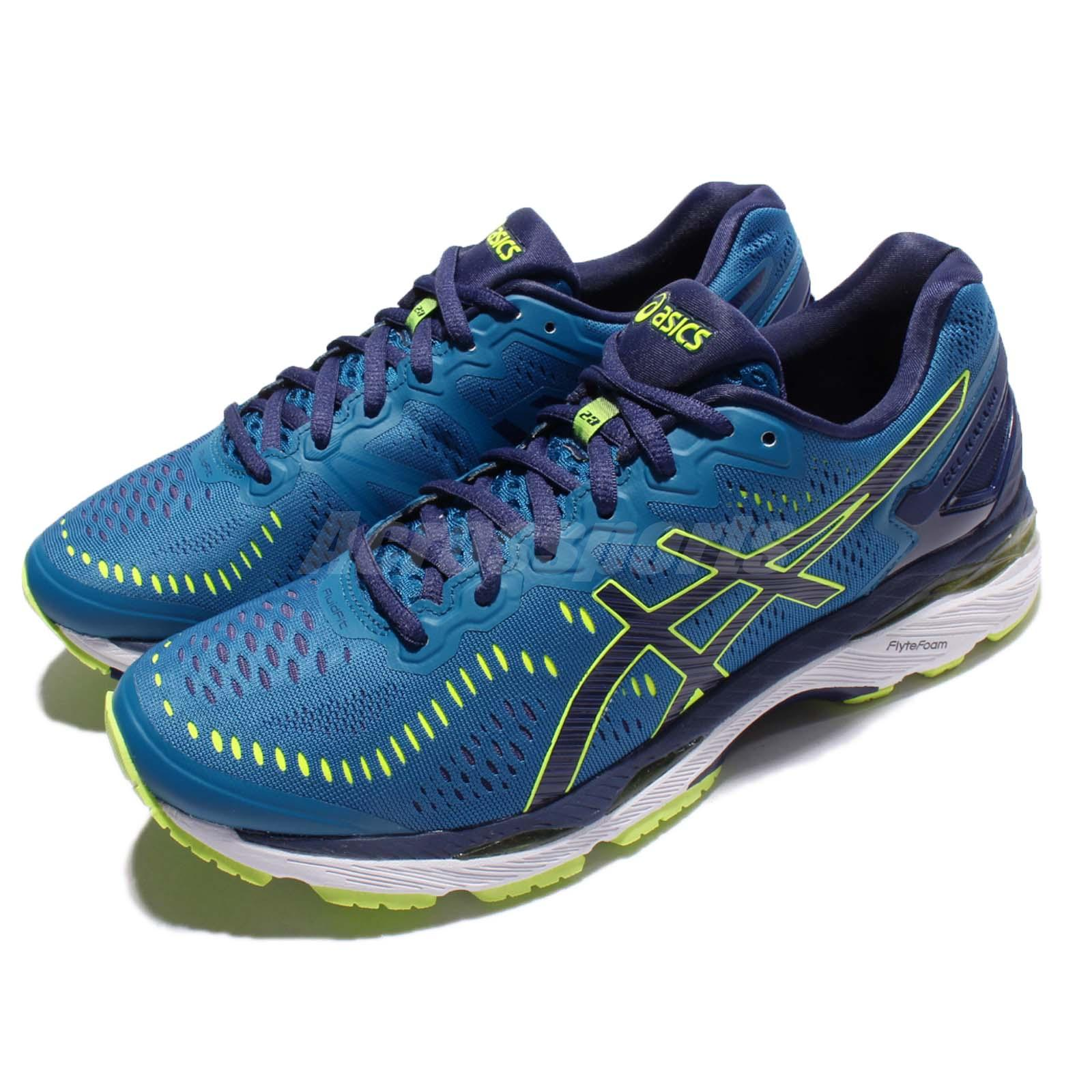 Details about Asics Gel Kayano 23 Blue Yellow Men Running Shoes Sneakers Trainers T646N 4907