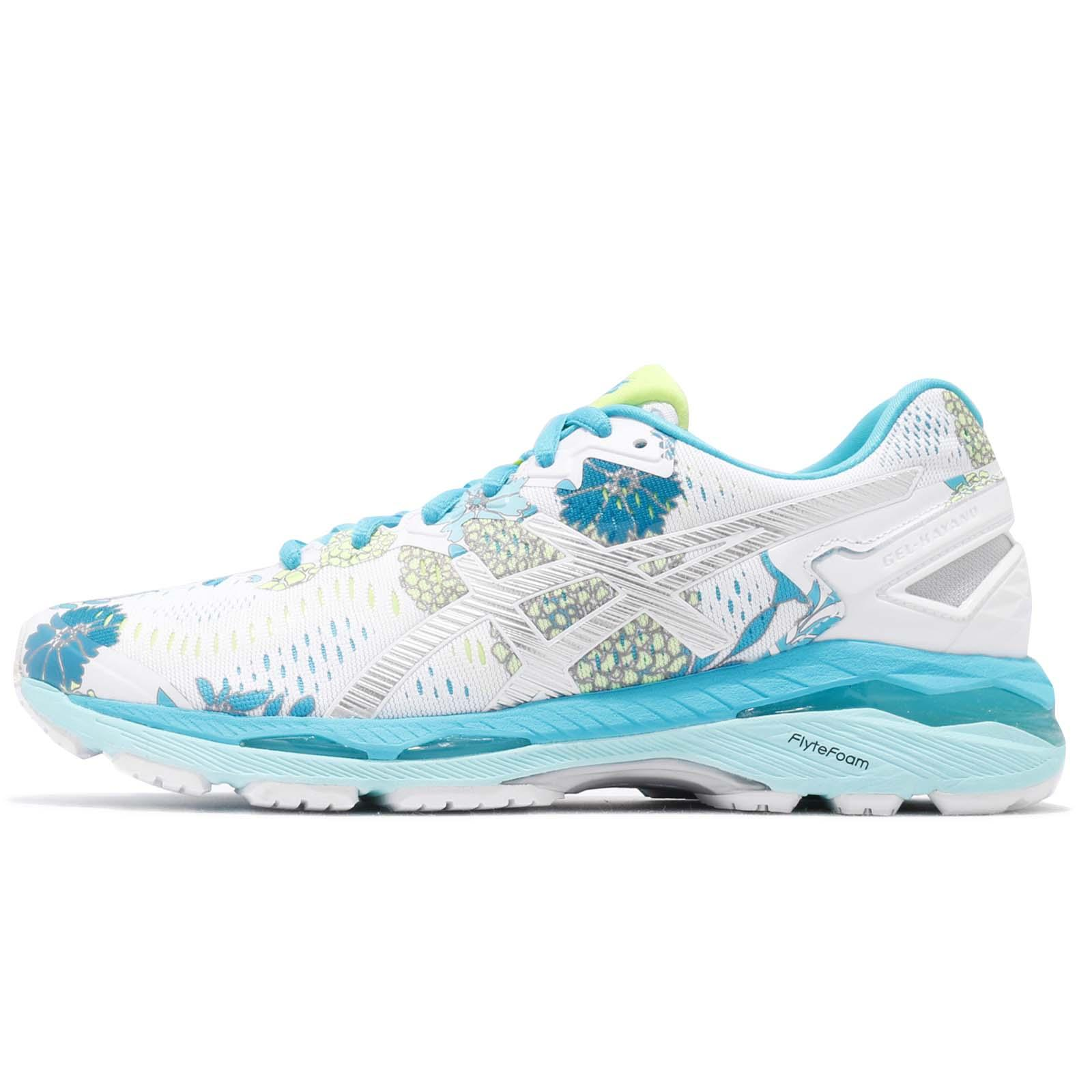 48e1a7f575 Asics Gel-Kayano 23 White Silver Blue Floral Women Running Shoes T6A5N-0193