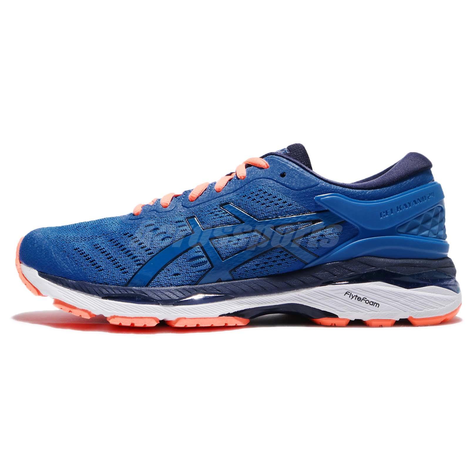 1ce255412752 Asics Gel-Kayano 24 Directoire Blue Hot Orange Men Running Shoes T749N-4358