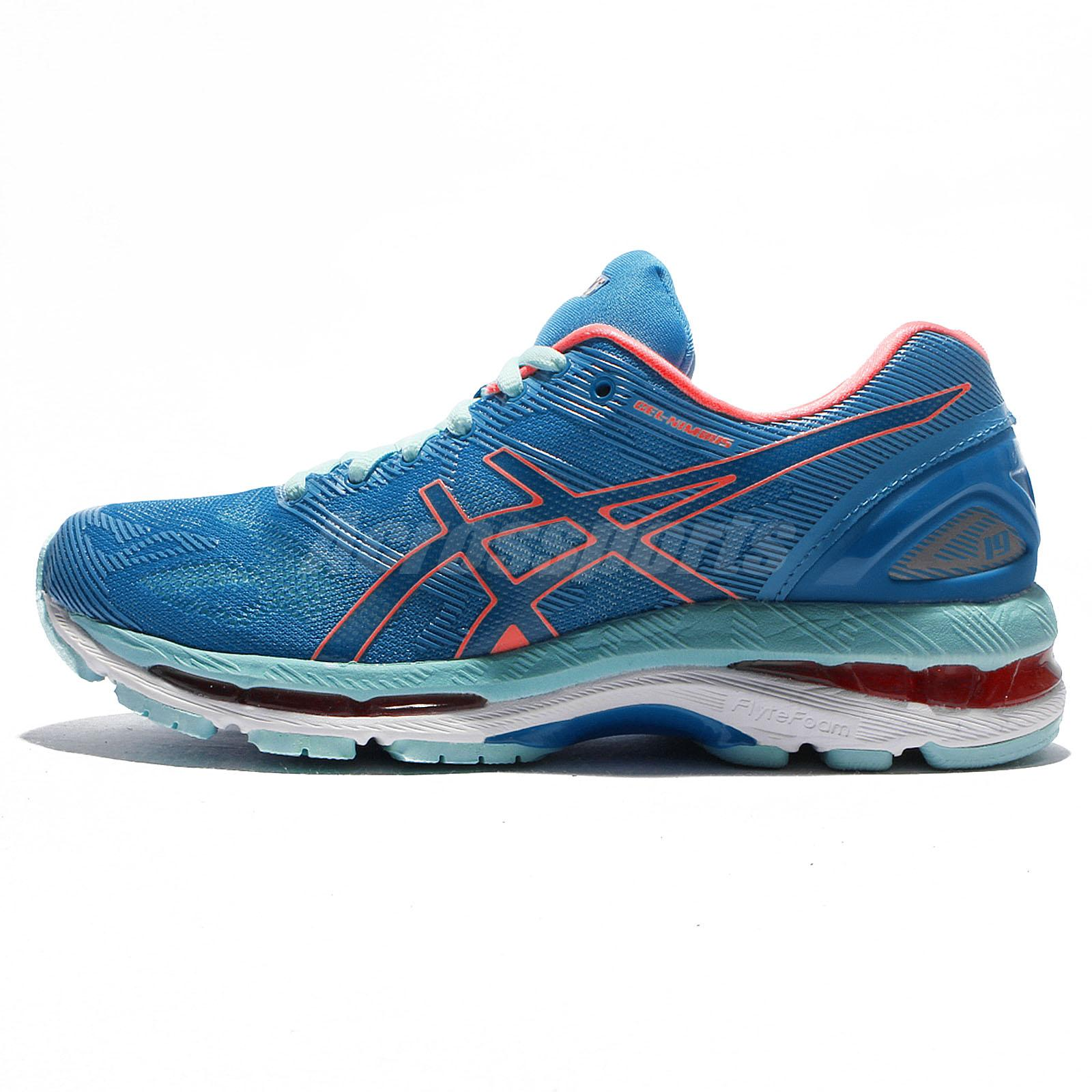 huge discount f4cb7 dcb19 Details about Asics Gel-Nimbus 19 Blue Green Orange Women Running Shoes  Sneakers T750N-4306