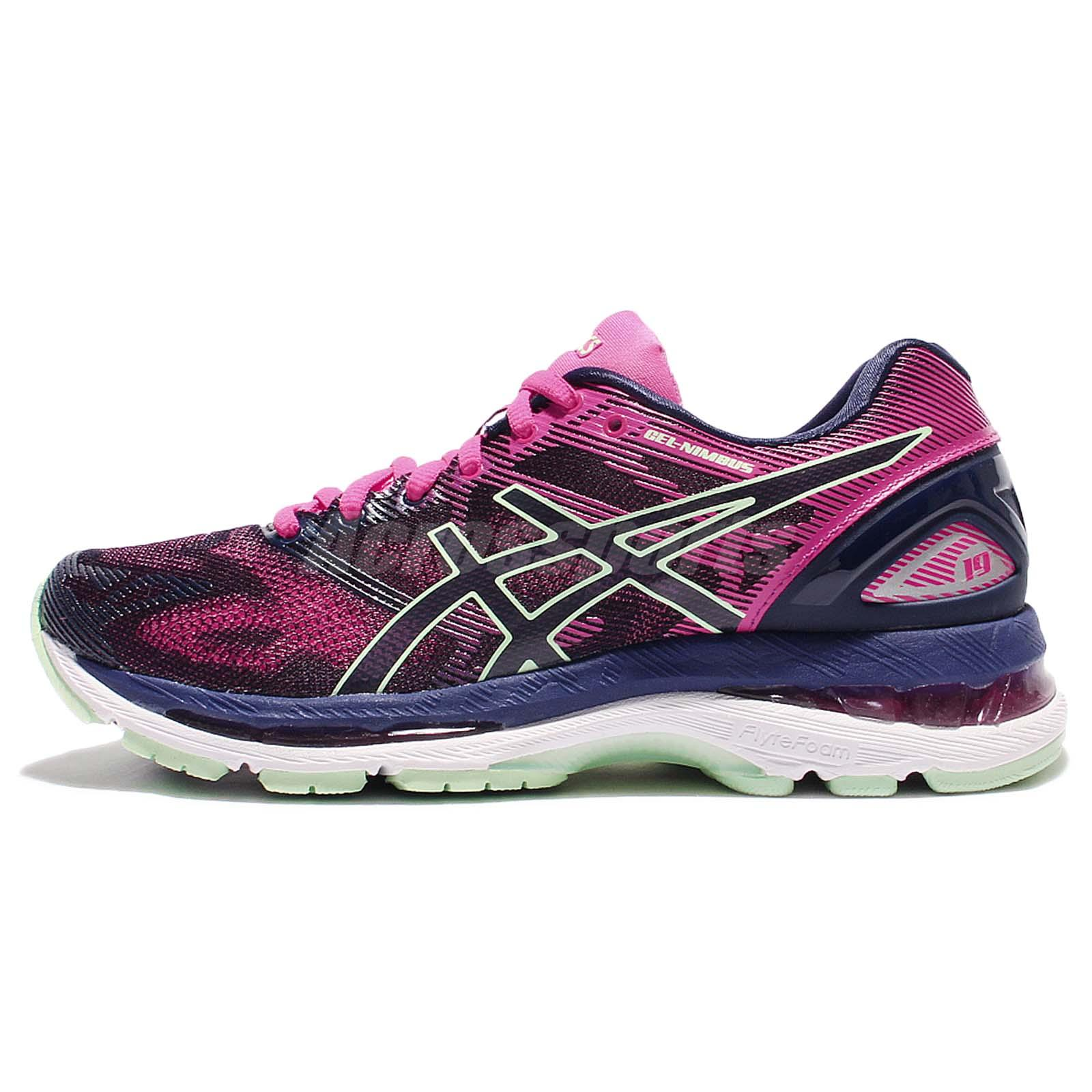 differently 1443a d5bd1 Details about Asics Gel-Nimbus 19 Pink Navy Women Running Training Shoes  Sneakers T750N-4987