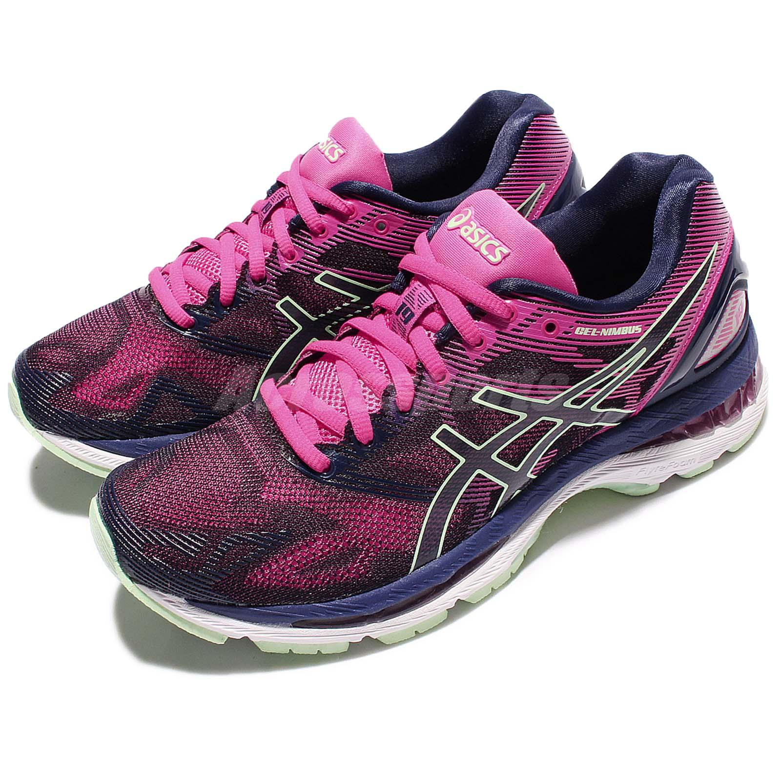 differently 3cb9d 85a73 Details about Asics Gel-Nimbus 19 Pink Navy Women Running Training Shoes  Sneakers T750N-4987