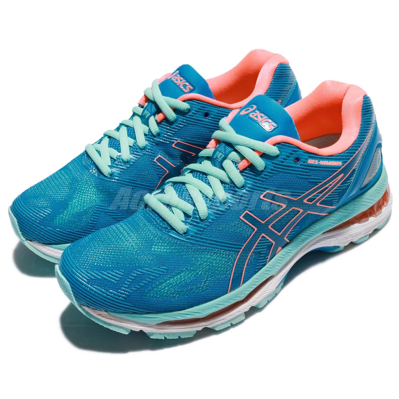 new product 46bc2 b4cdf Details about Asics Gel-Nimbus 19 D Wide Diva Blue Coral Aqua Women Running  Shoes T751N-4306