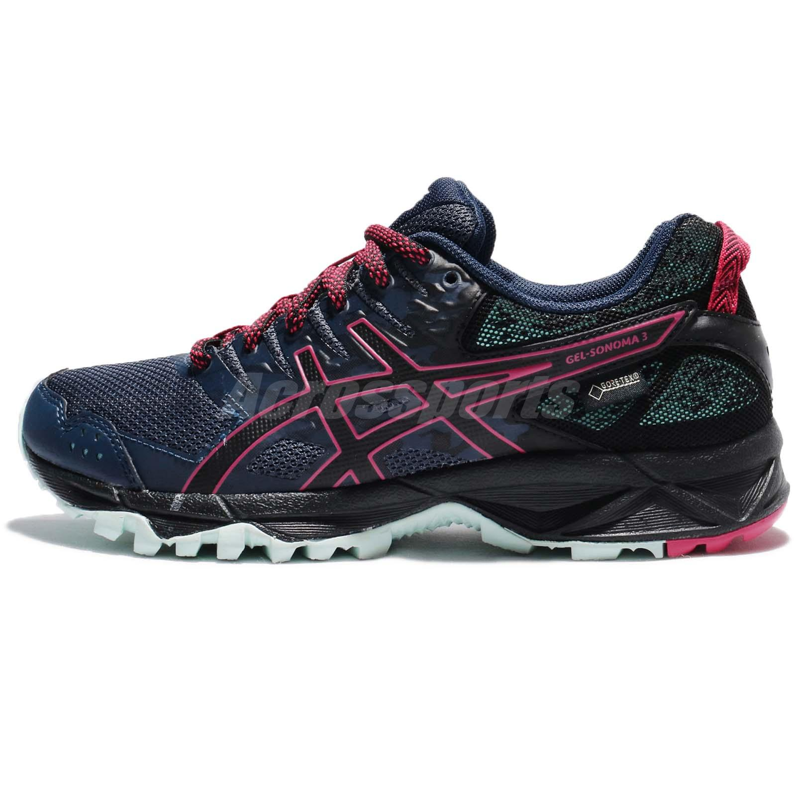 united states 2018 shoes great deals 2017 Asics GEL-SONOMA 3 G-TX Gore-Tex Azul Rosa Mujeres Trail Running ...