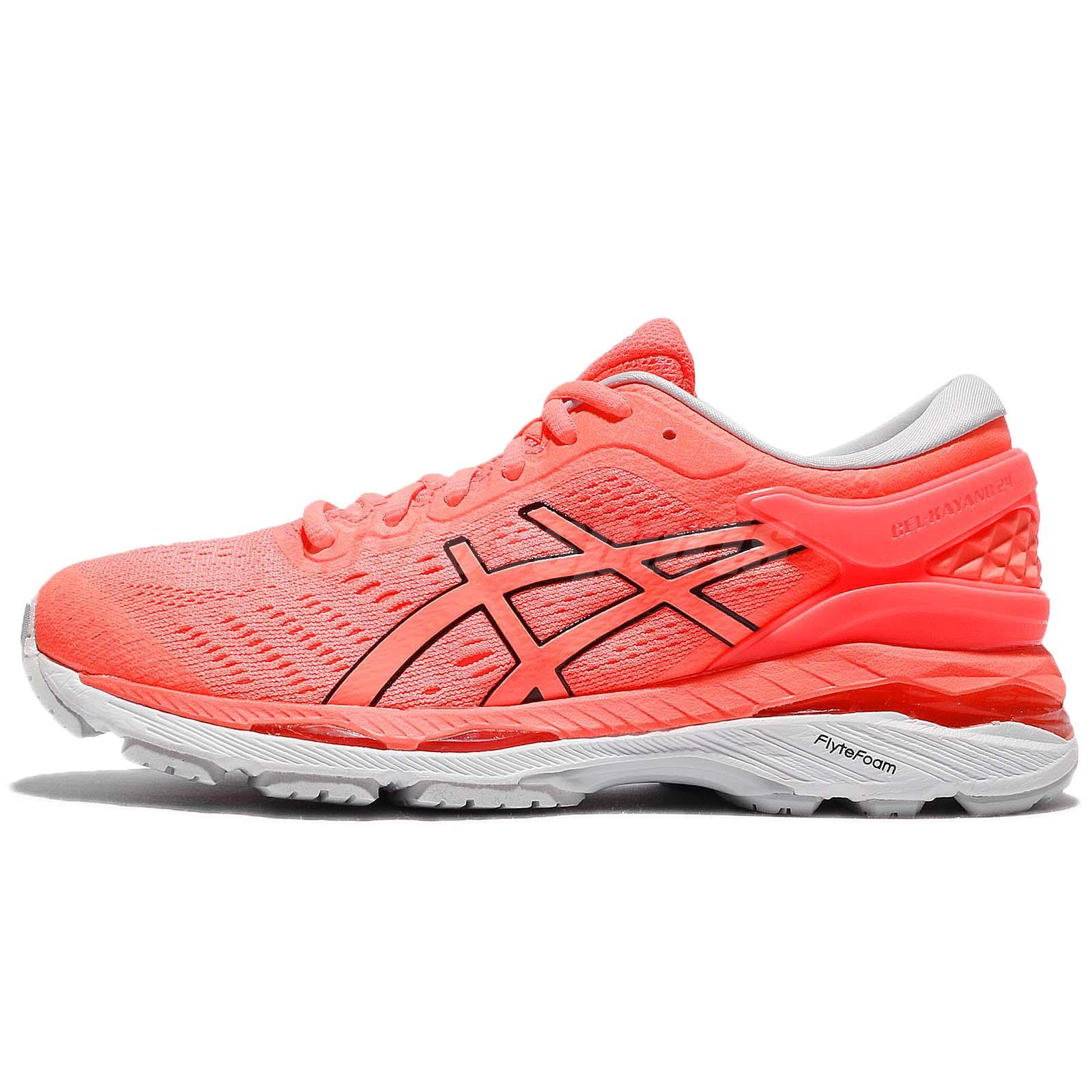 Asics Gel Kayano 24 Flash Coral White Women Running Shoes Sneakers T799N 0690