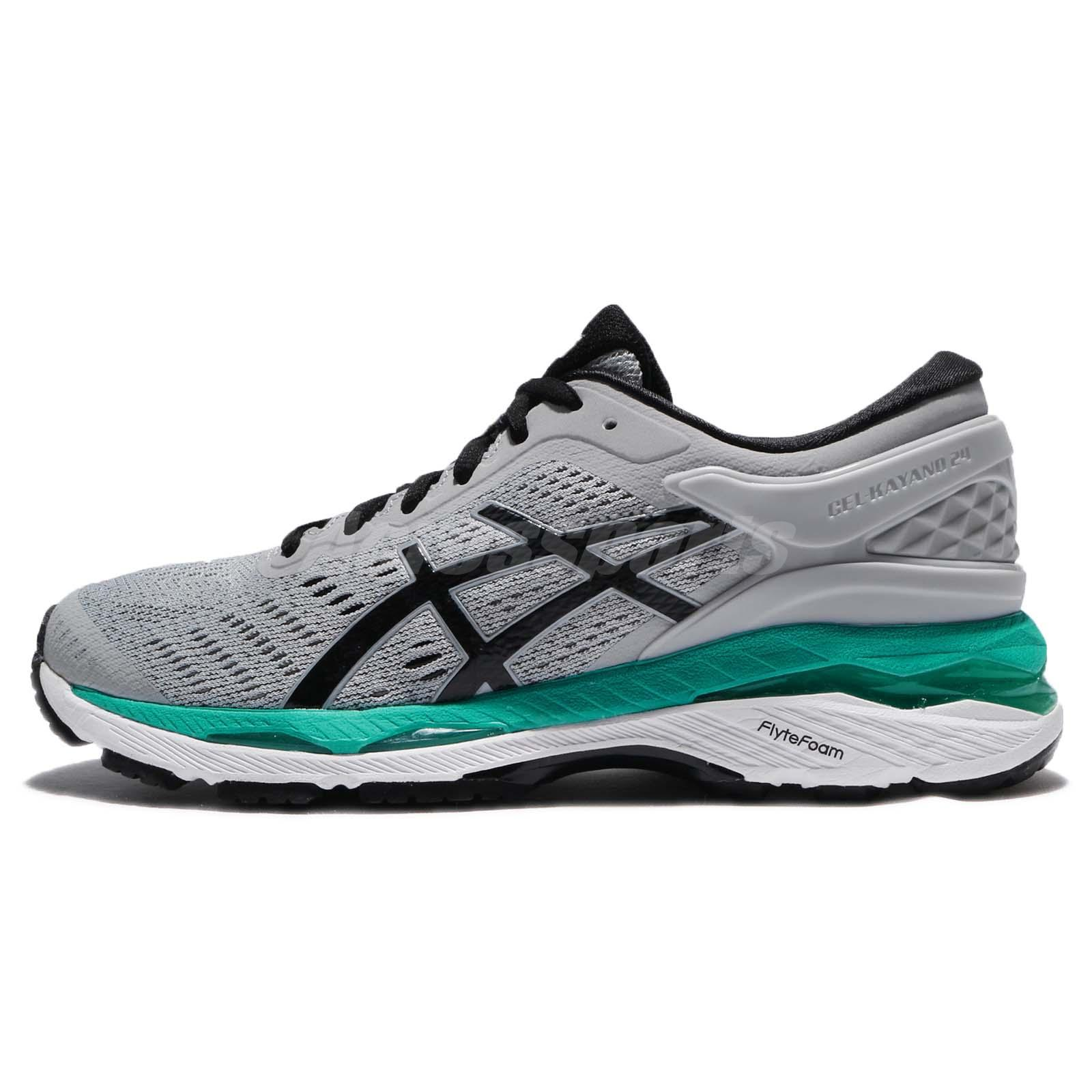 7e1ab301a713 Asics Gel-Kayano 24 Grey Black Green Women Running Shoes Sneakers T799N-9690