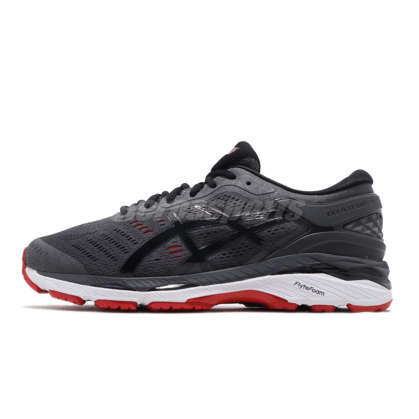 Asics Gel-Kayano 24 2E Wide FlyteFoam Grey Red Mens Running Shoes T7A0N-9590 f18b177f32fda