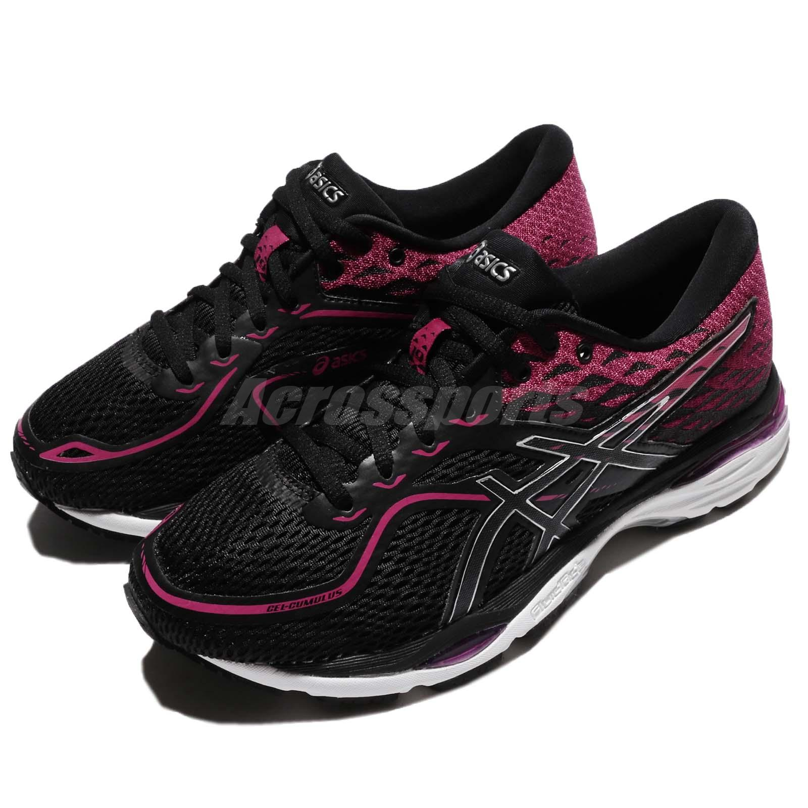 Asics Gel Cumulus 19 Black Silver Pink Women Running Shoes Sneakers T7B8N 9093