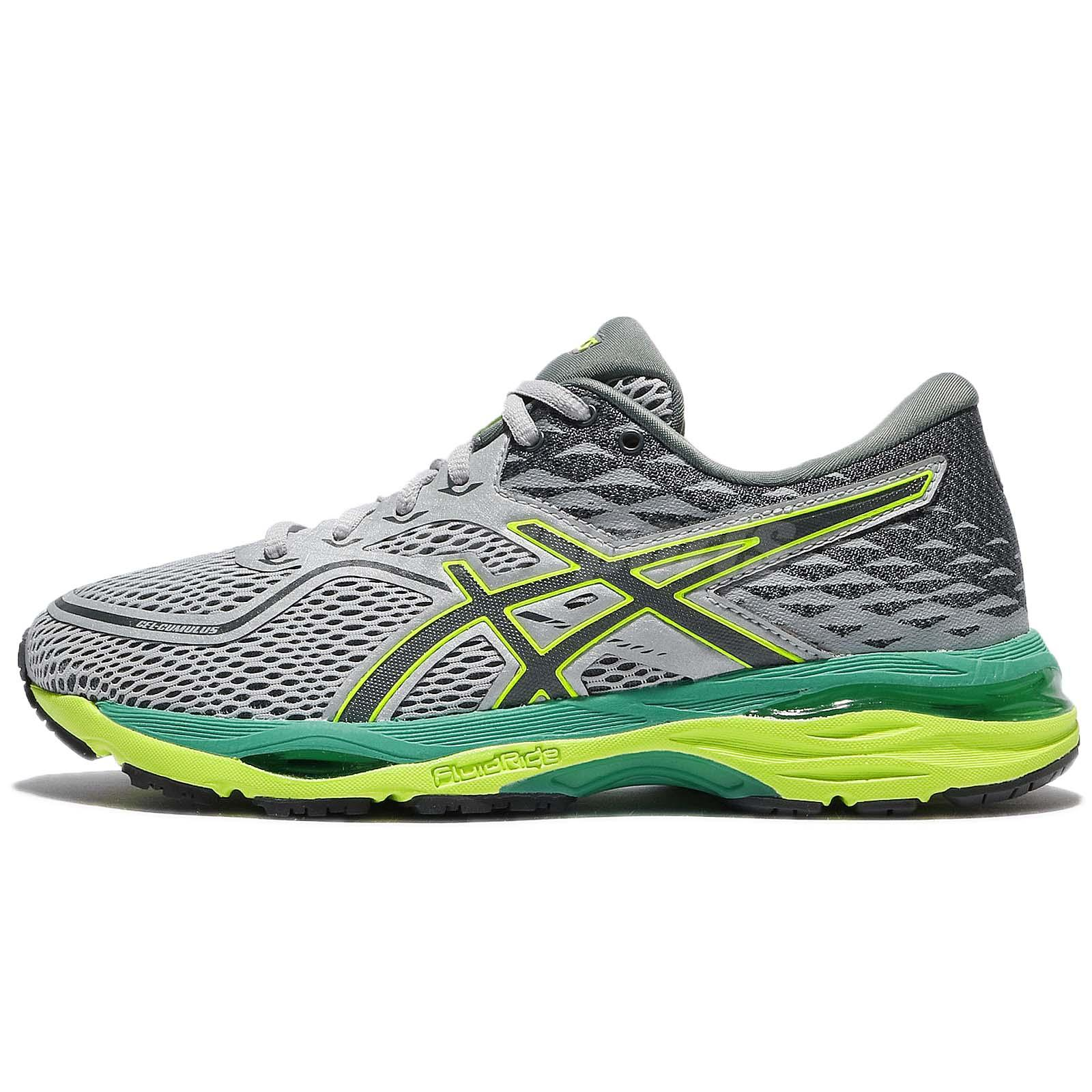 Asics Gel Cumulus 19 Mid Grey Green Yellow Women Running Shoe Sneaker T7B8N 9697