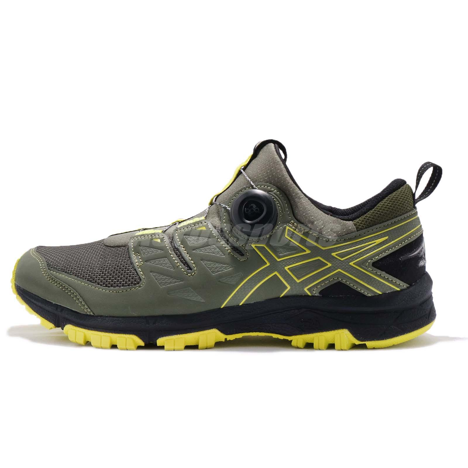 Asics Gel FujiRado Laceless Green Running Black Yellow Men Trail Running Green Shoe T7F2N 8189 8253fc